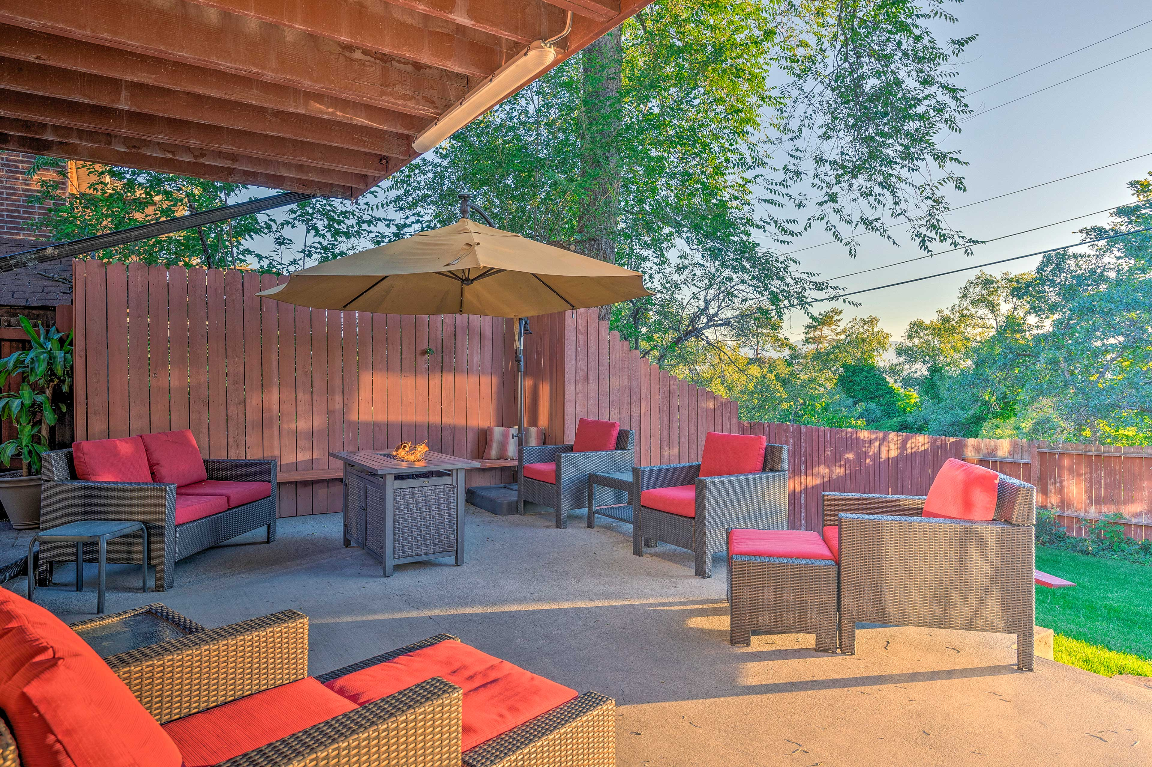 Enjoy happy hour with the entire group on the beautiful patio.