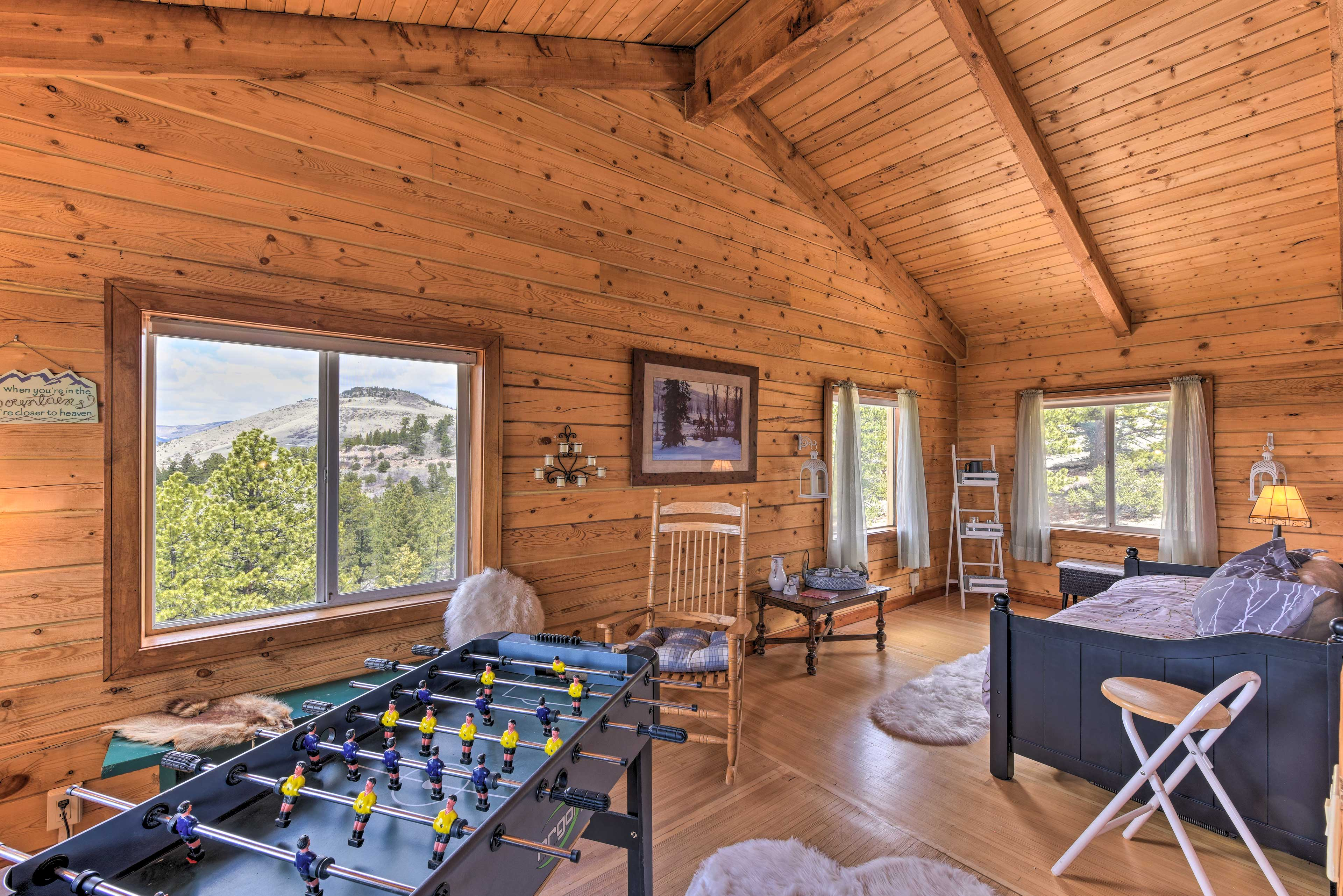 Hang at the cabin and get the ball flying during a game of foosball.