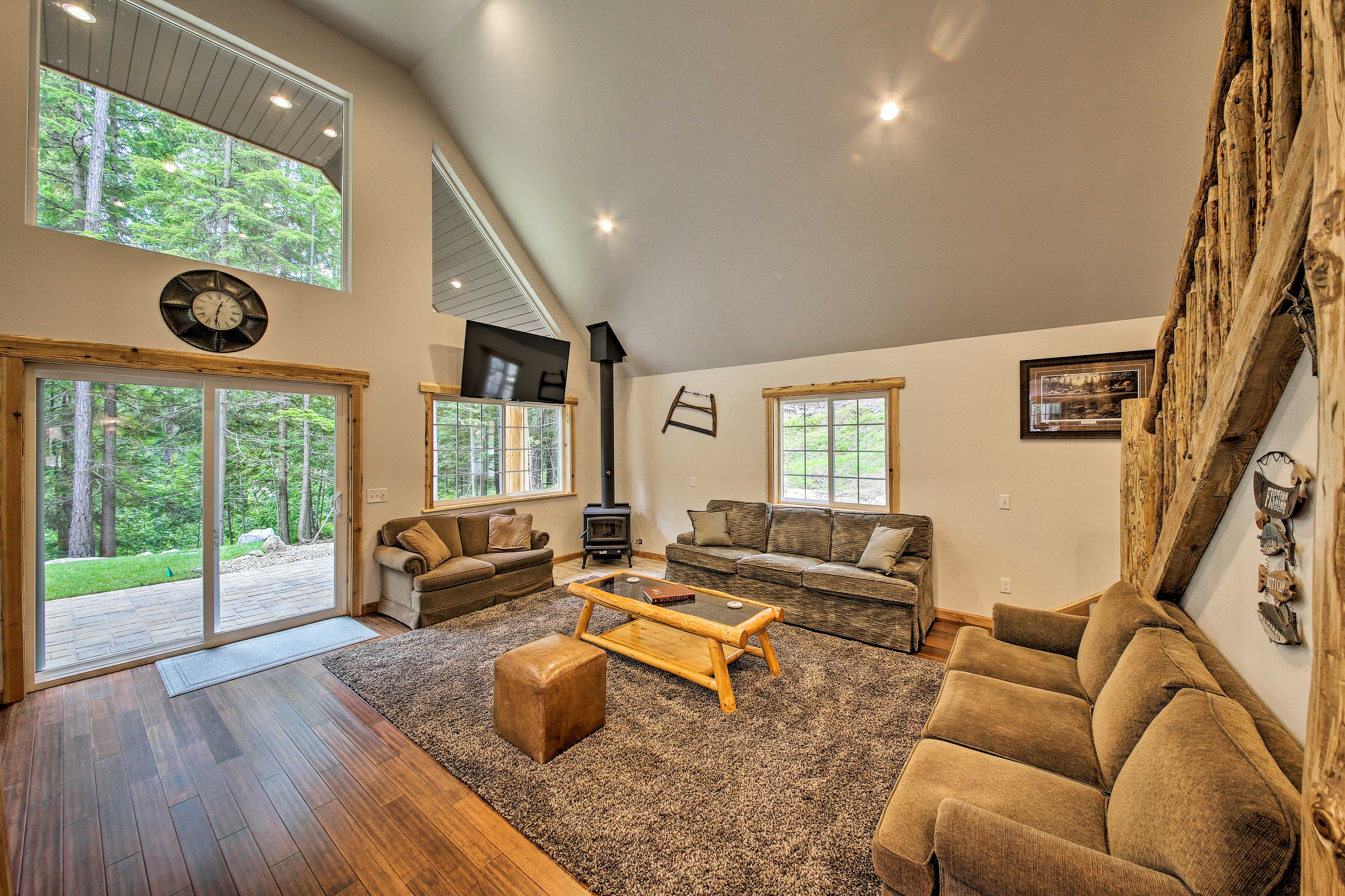 Gorgeous wood furnishings define the cabin's interior.