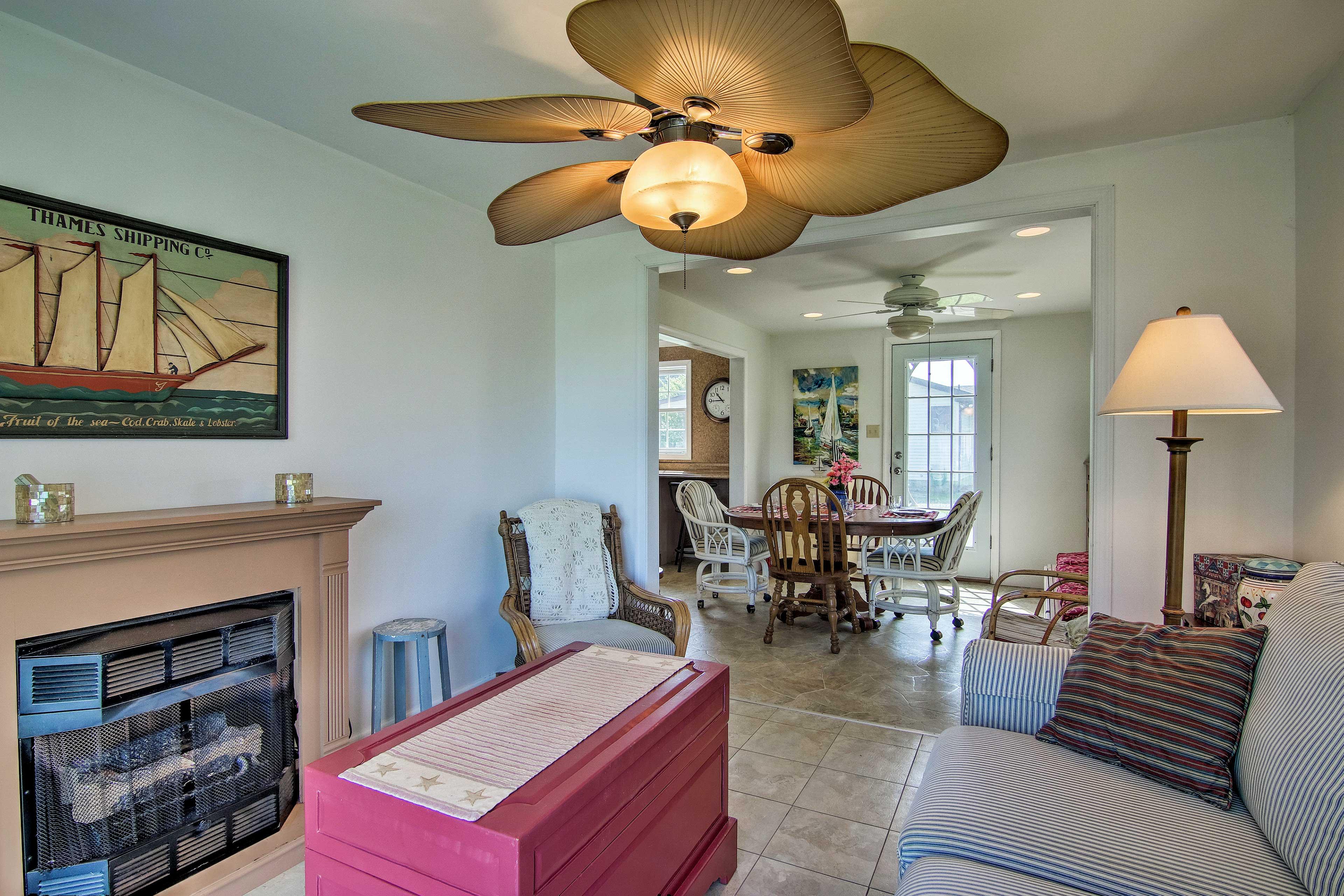 The living room boasts a fireplace.