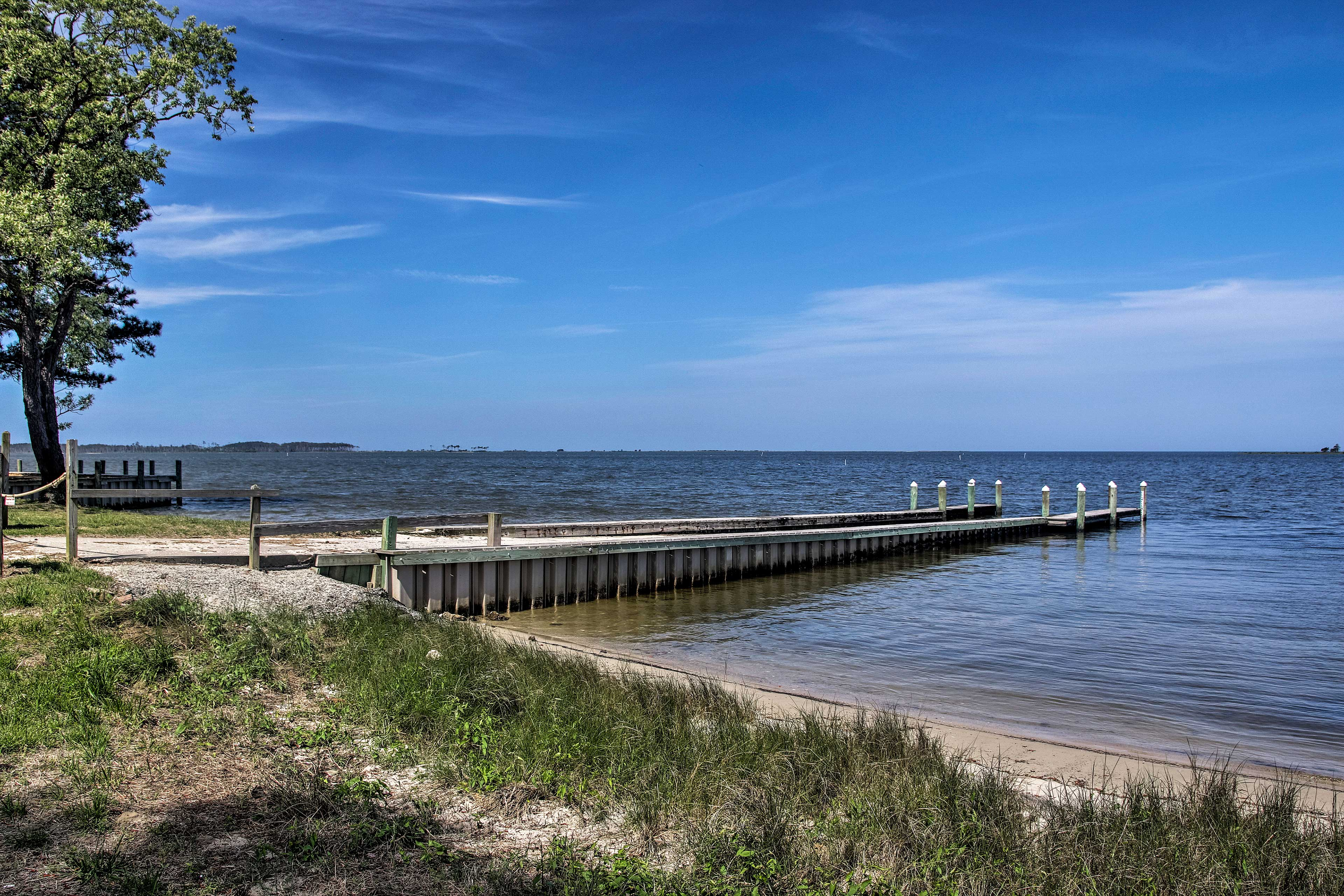 Located in Painter, Virginia, the home has access to a private beach!