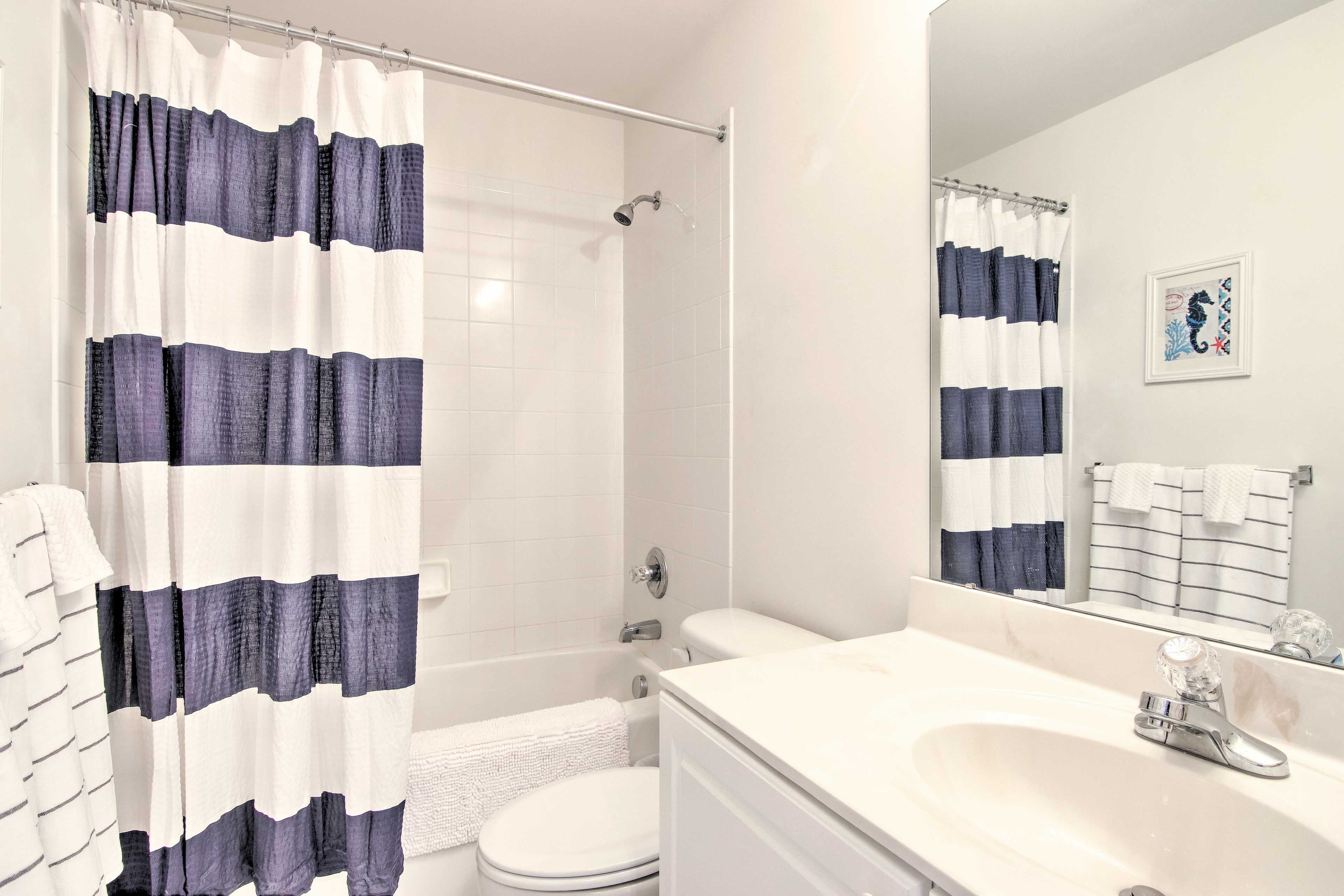 Both of the full bathrooms are stocked with fresh towels.