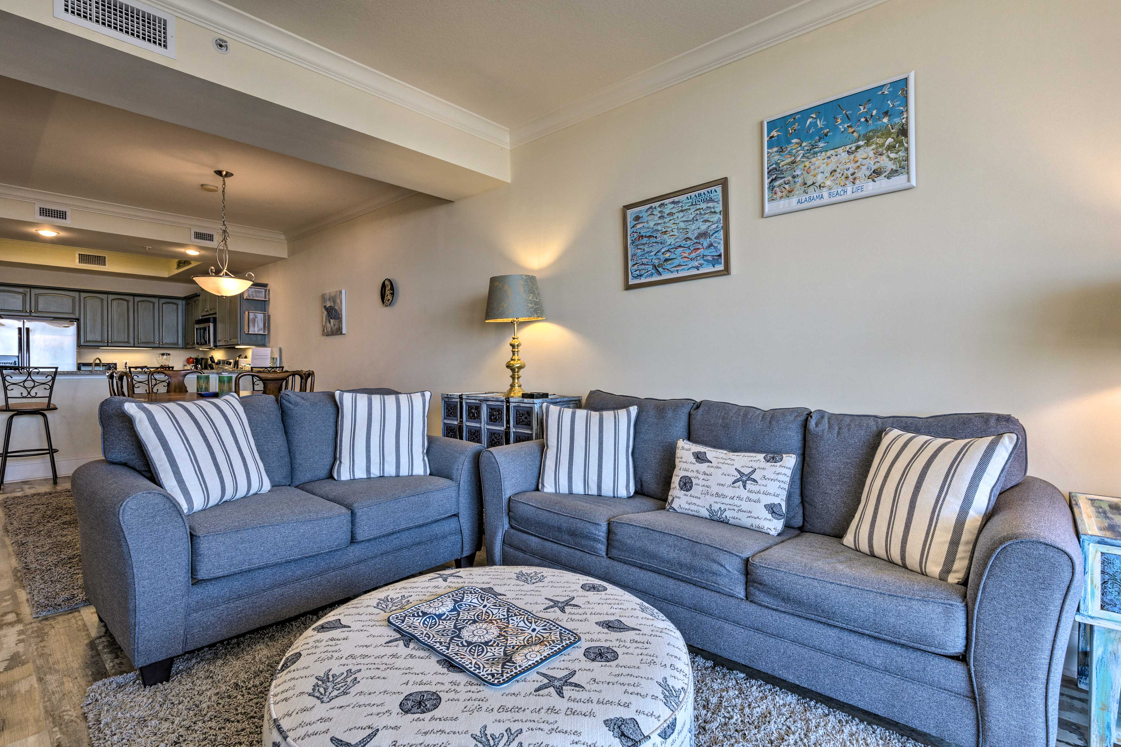 Unwind in the living room while watching movies.