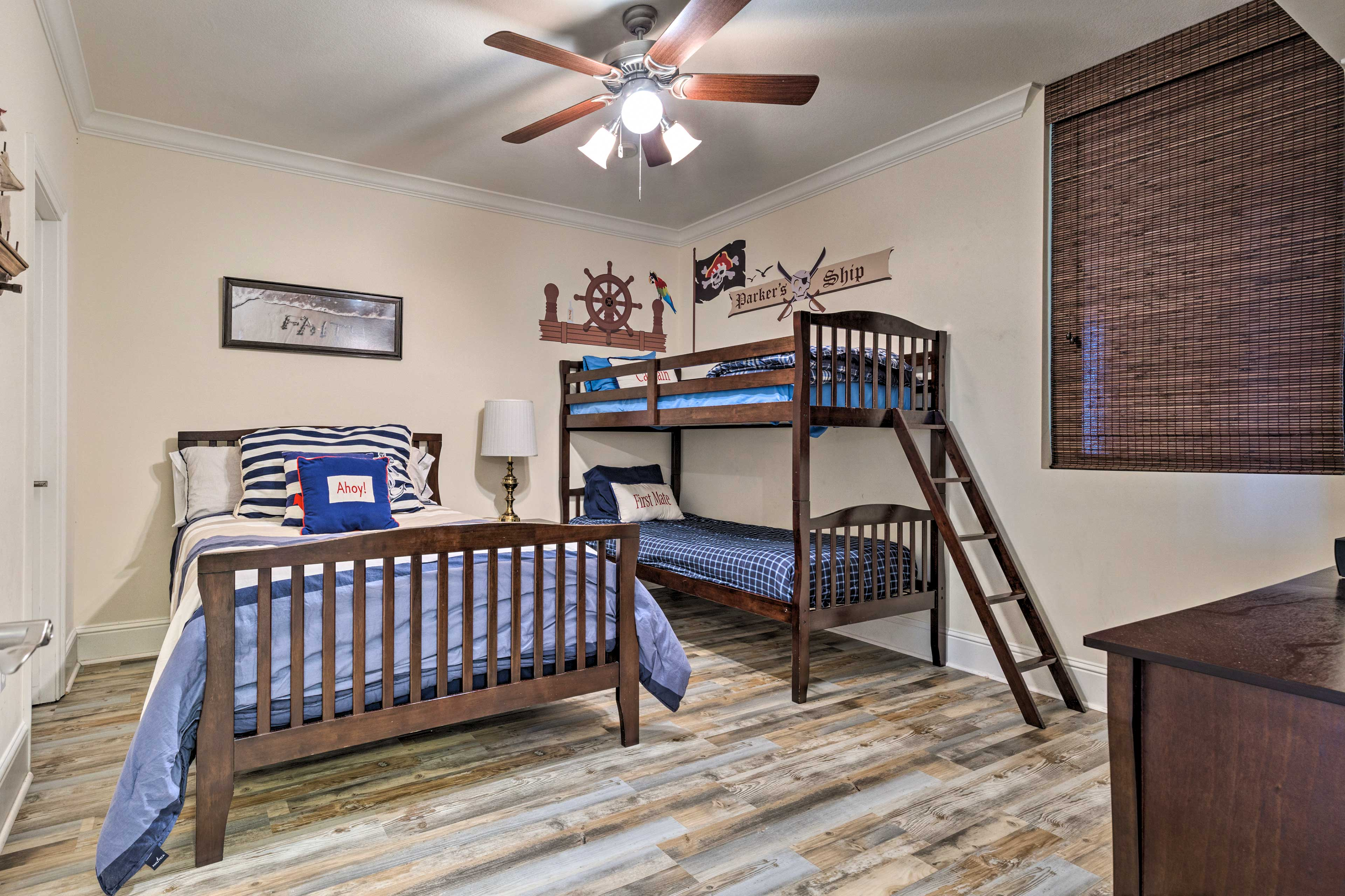 Kids will love sharing this pirate-themed bedroom.