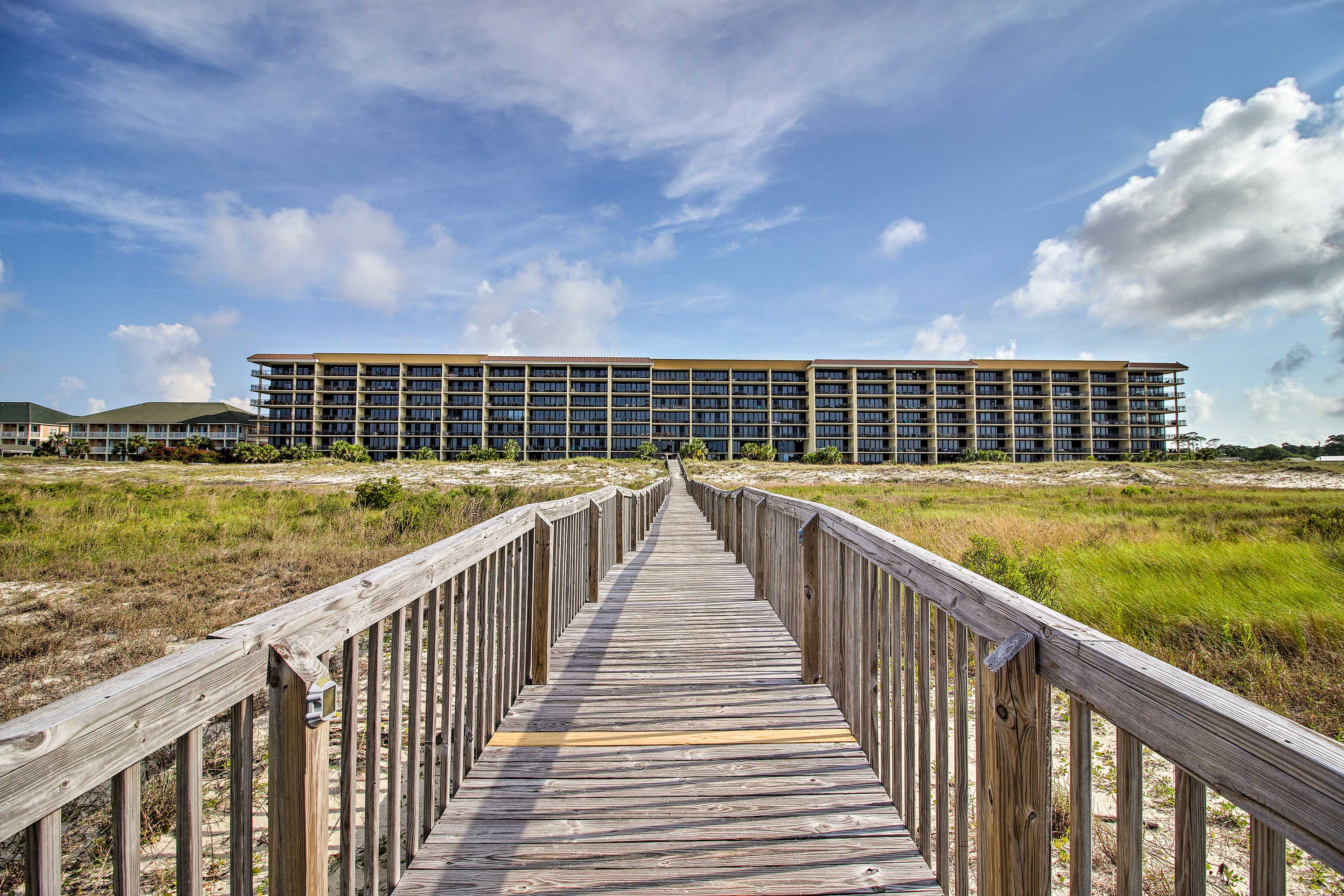 You'll just be a boardwalk away from the beach.