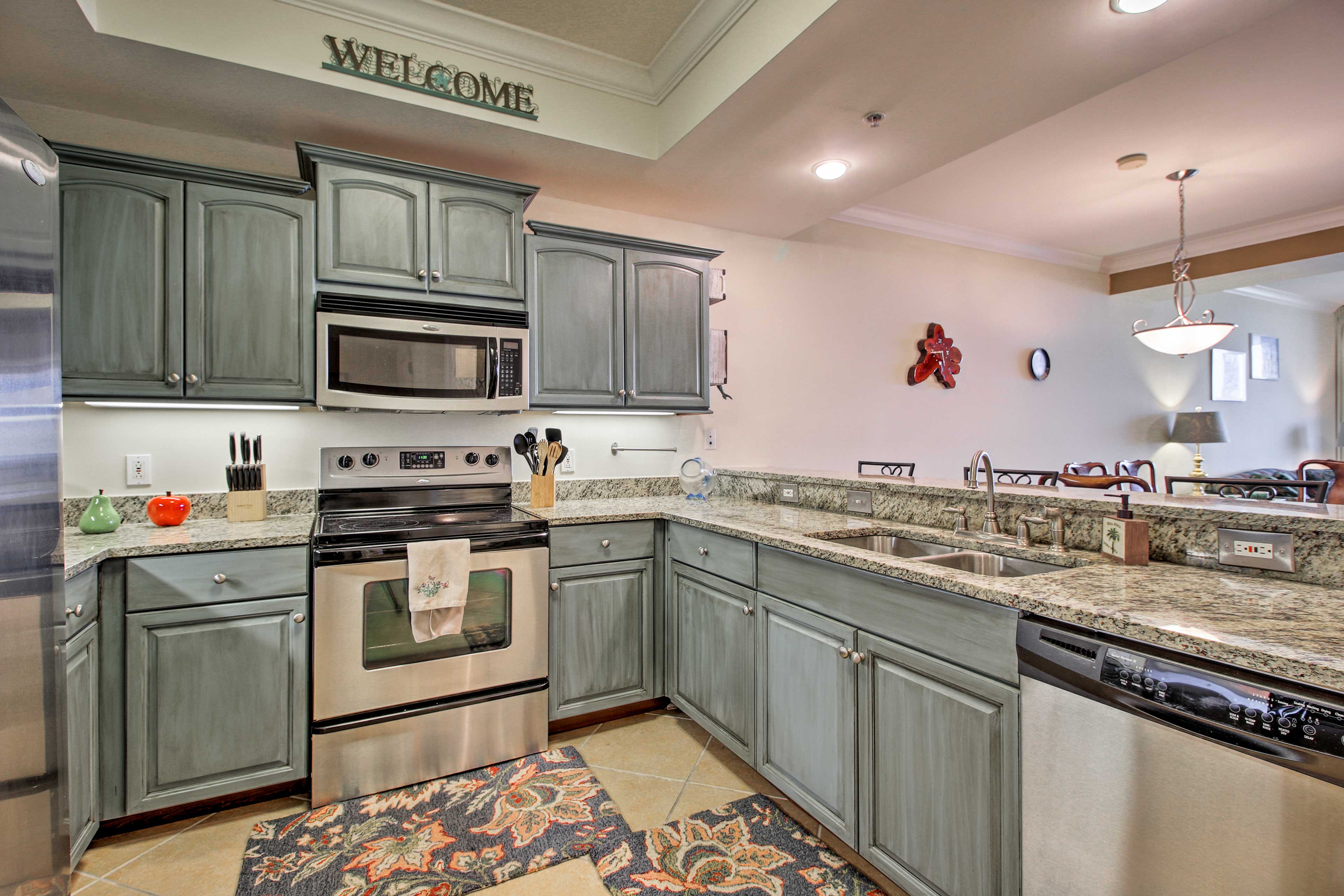 There's ample counter space for meal prep in the kitchen.