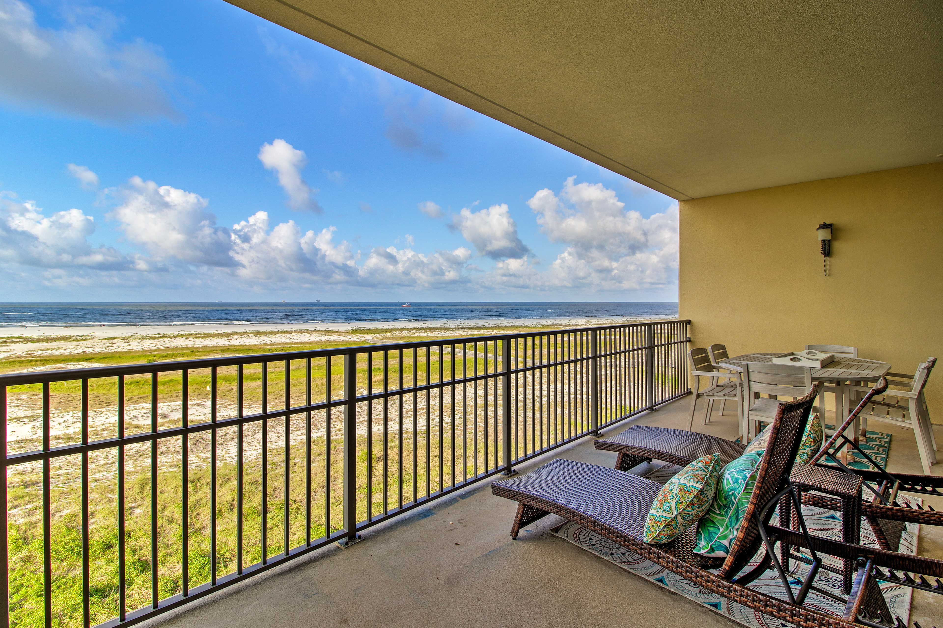 Look forward to lounging on the private balcony and taking in the gulf views!