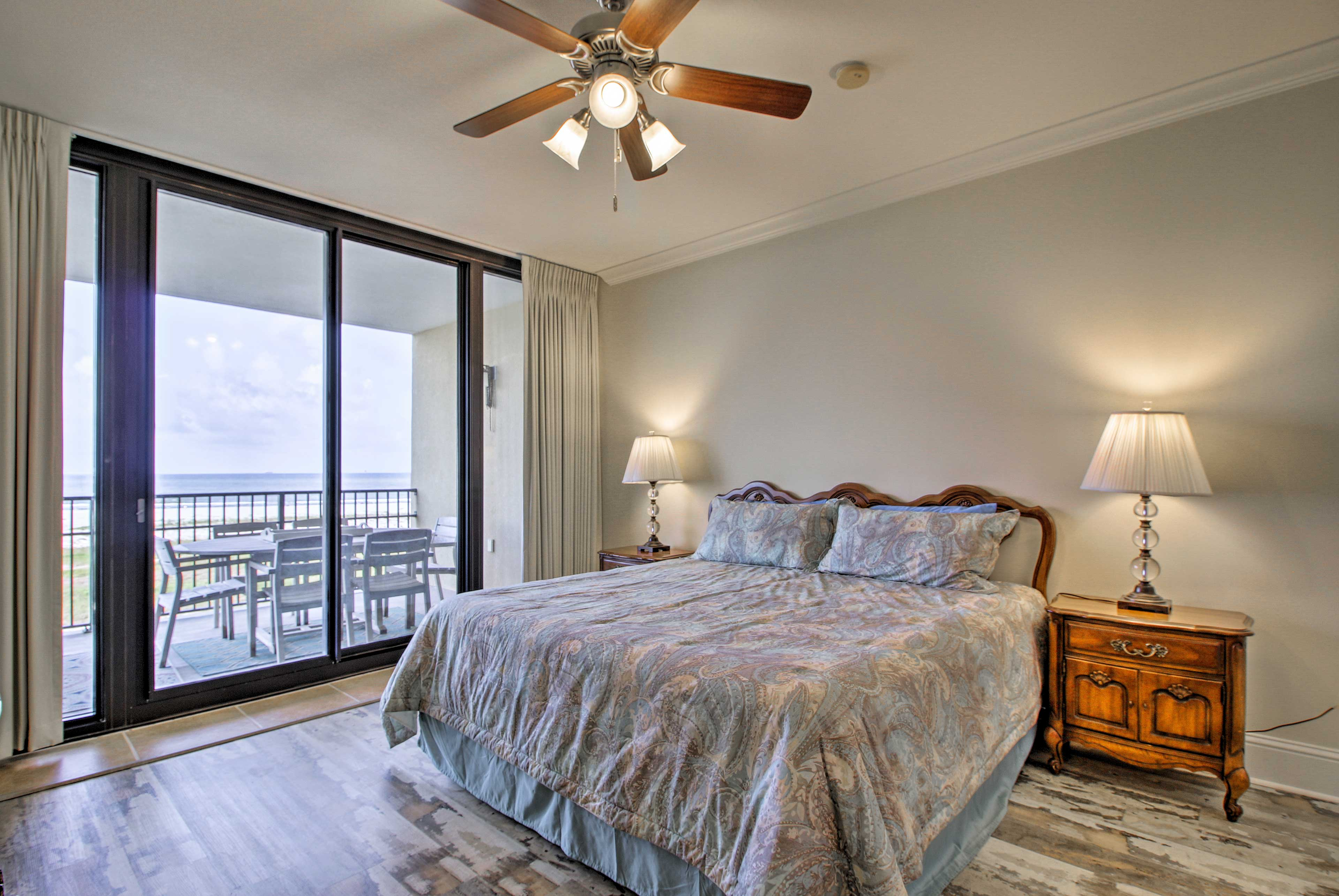 You'll love the master bedroom with a king bed and balcony access.