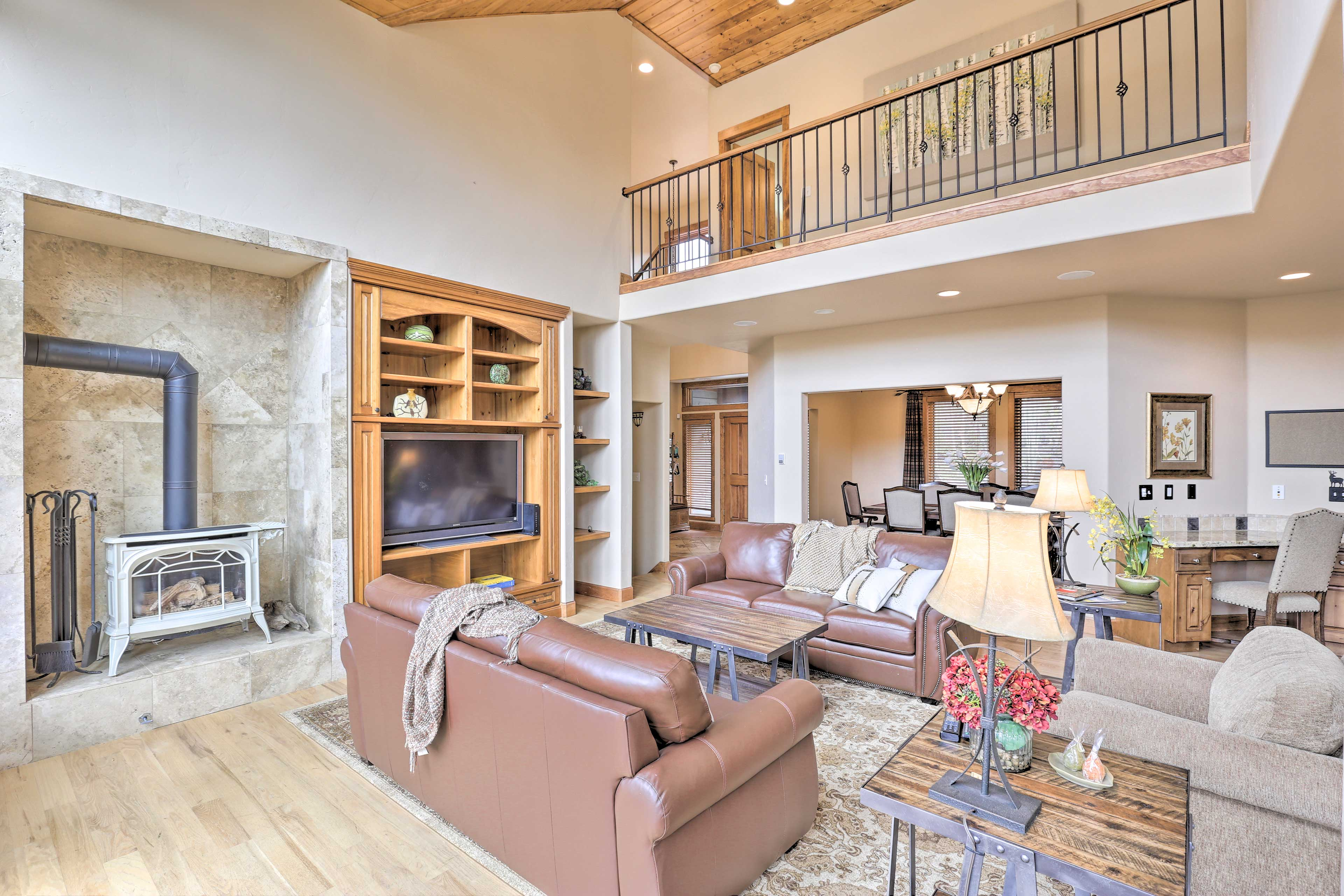 Socialize in the light & airy upstairs living room.