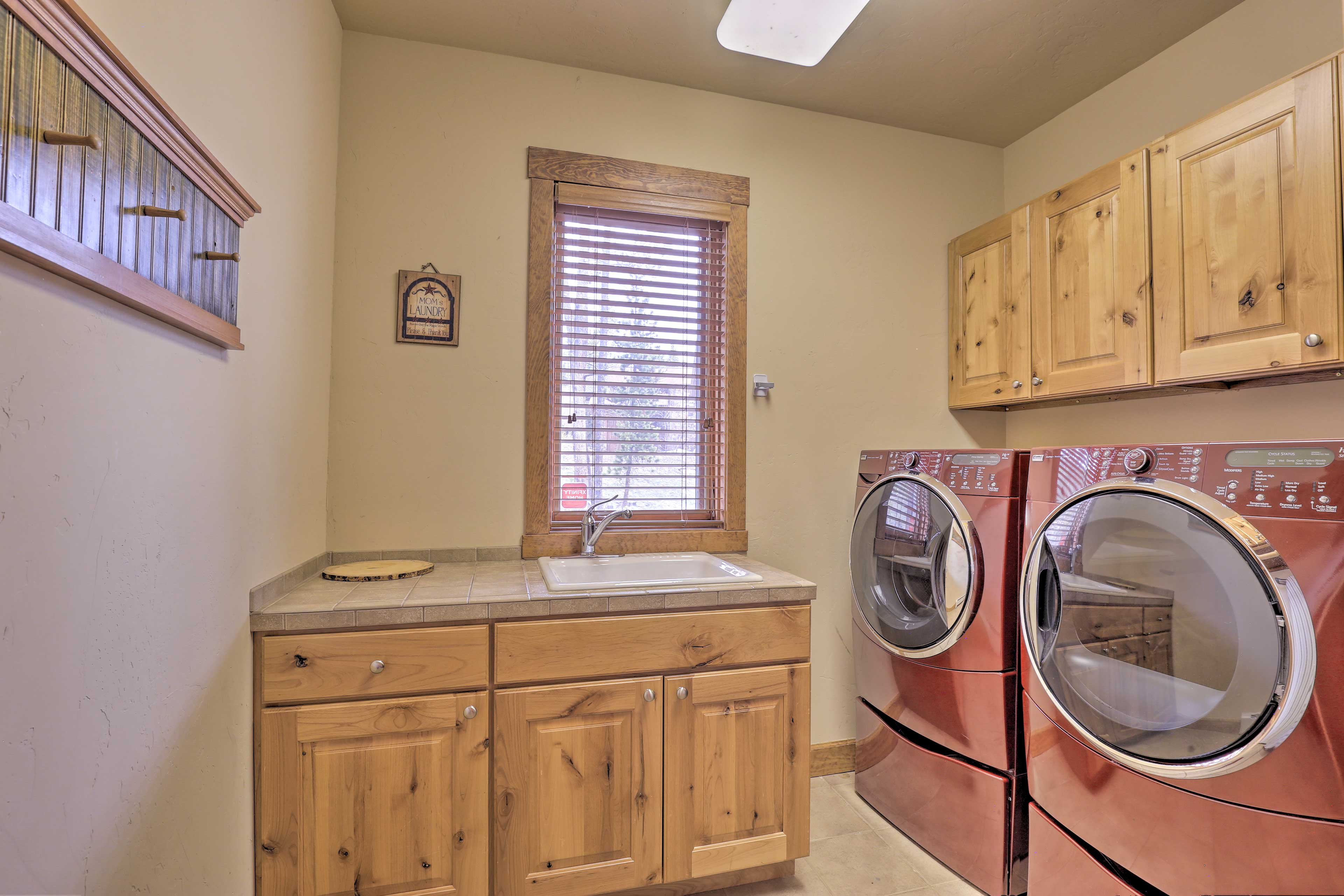 You'll appreciate the luxury of high-end front-loading laundry machines.