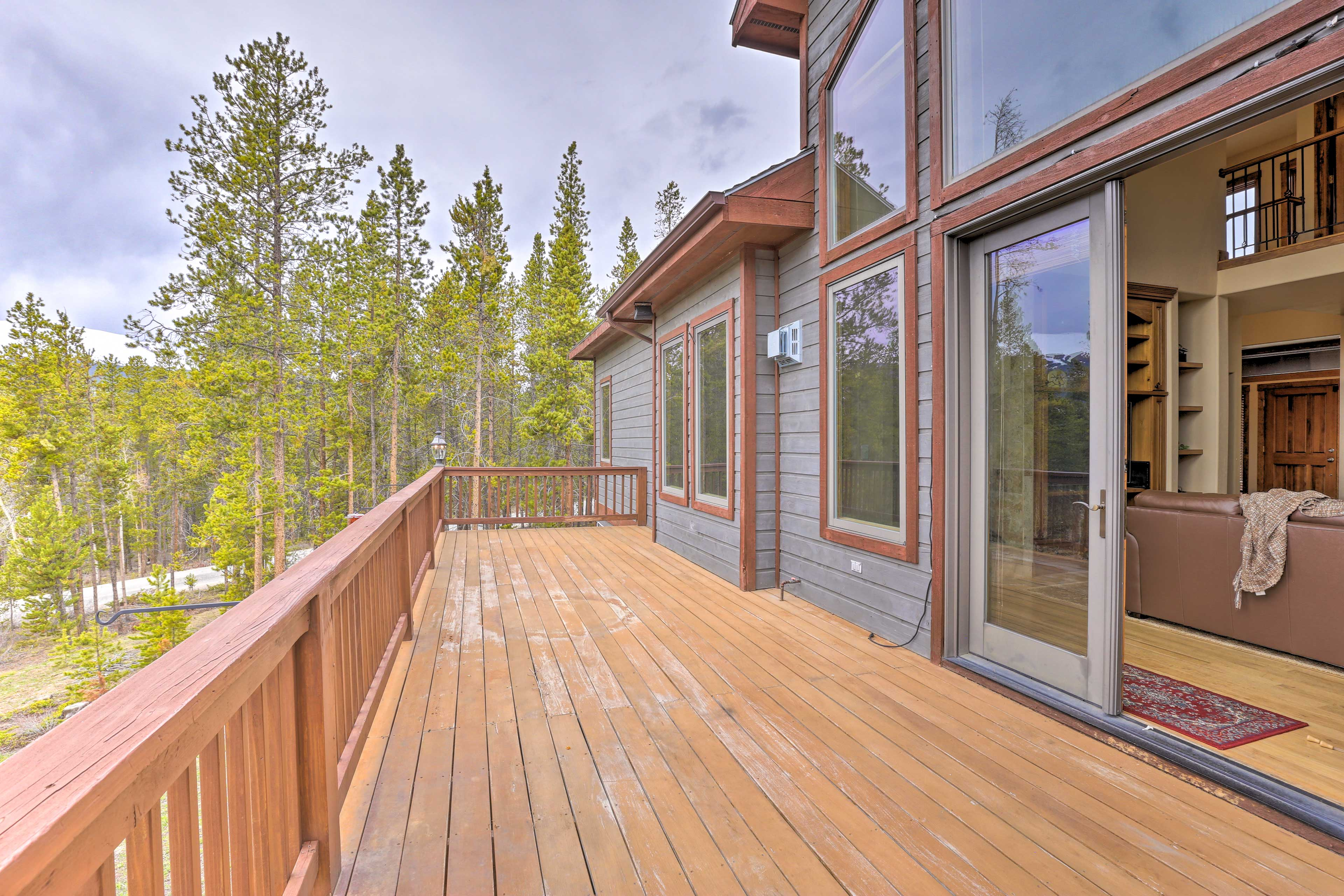 Step out onto the deck to get some fresh mountain air.
