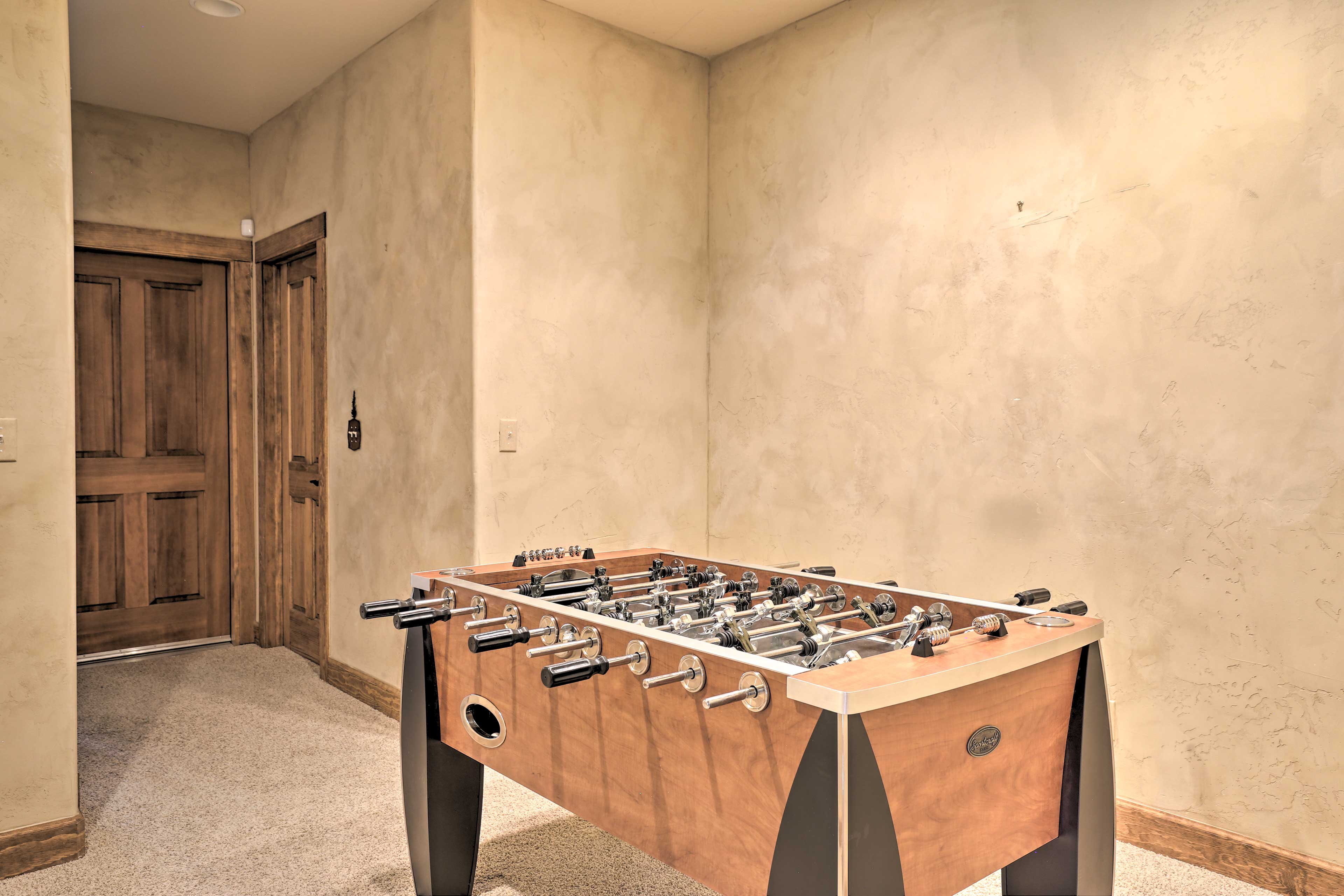 The kids will love playing foosball.