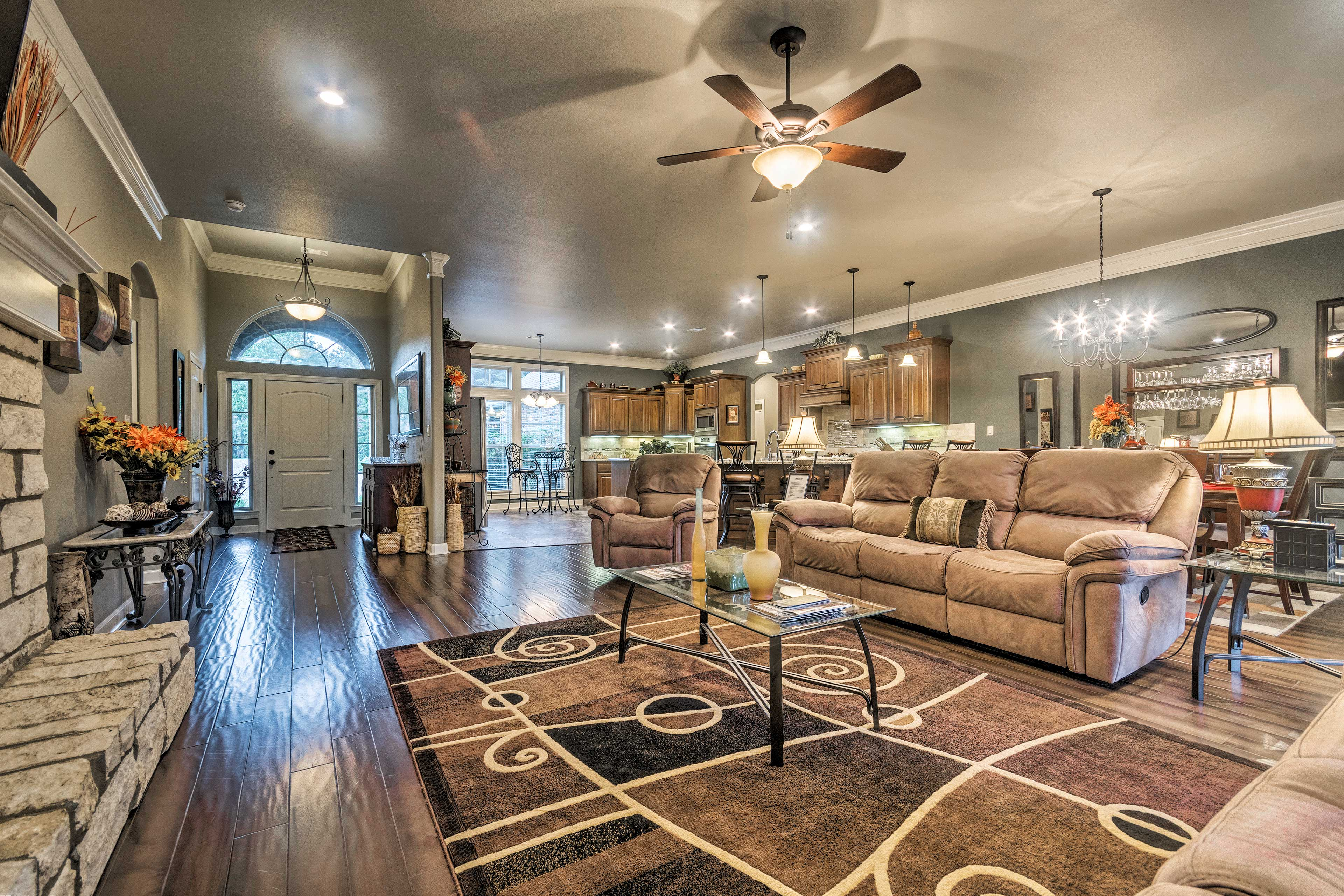 Relax on the reclining couch and watch the flat-screen TV!