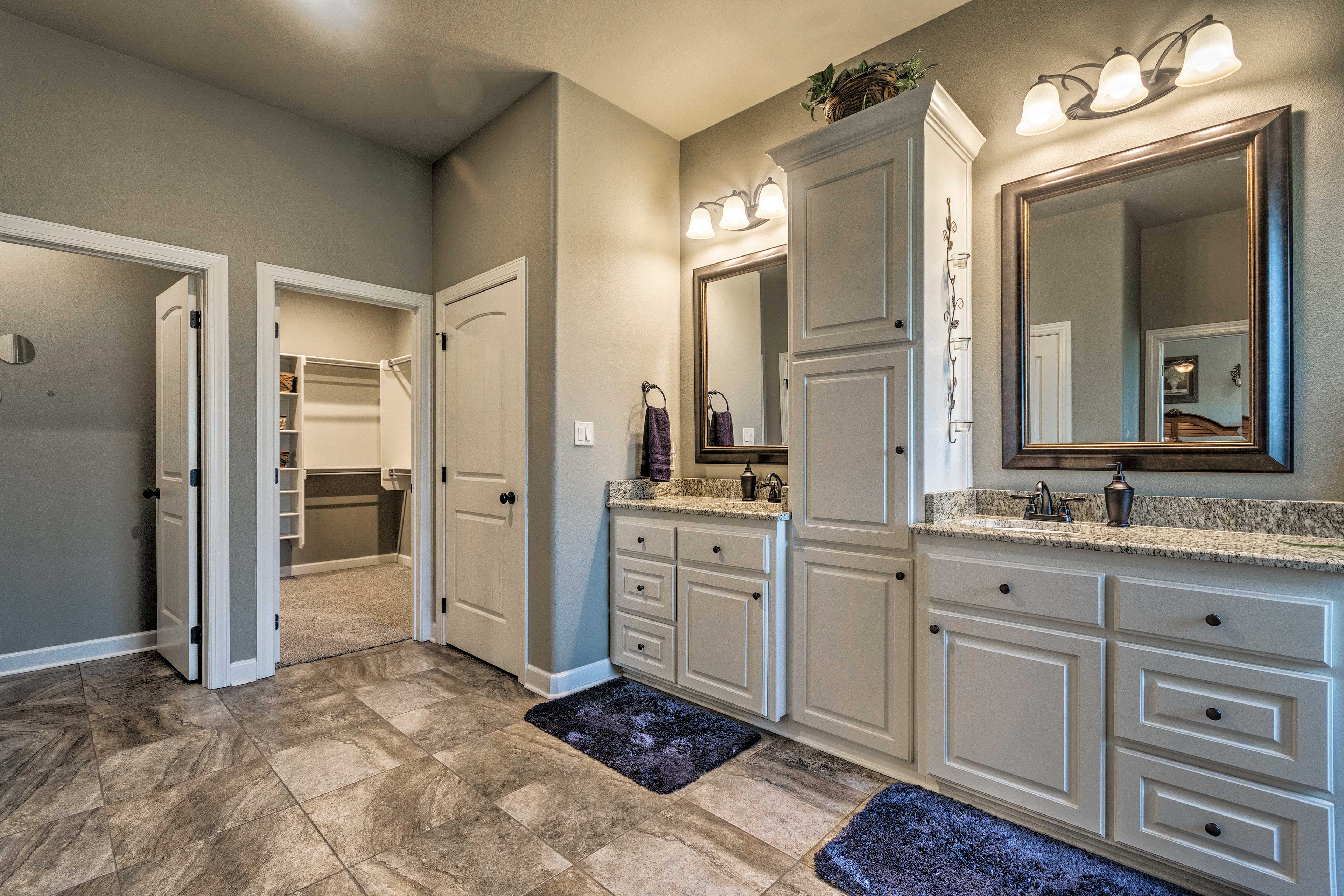 Prepare for a night out at the granite vanities.
