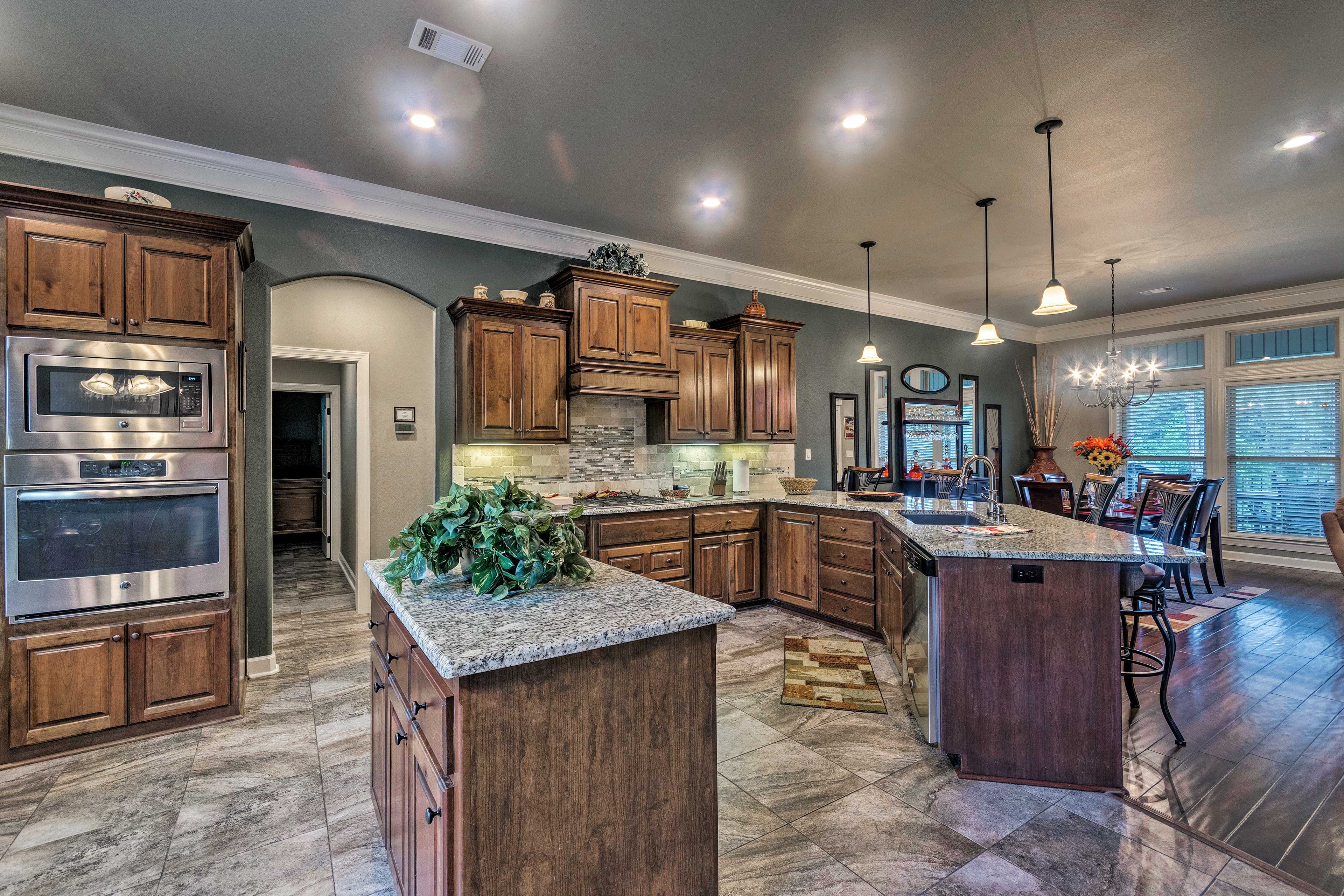 With stainless steel appliances, the kitchen makes cooking a breeze.