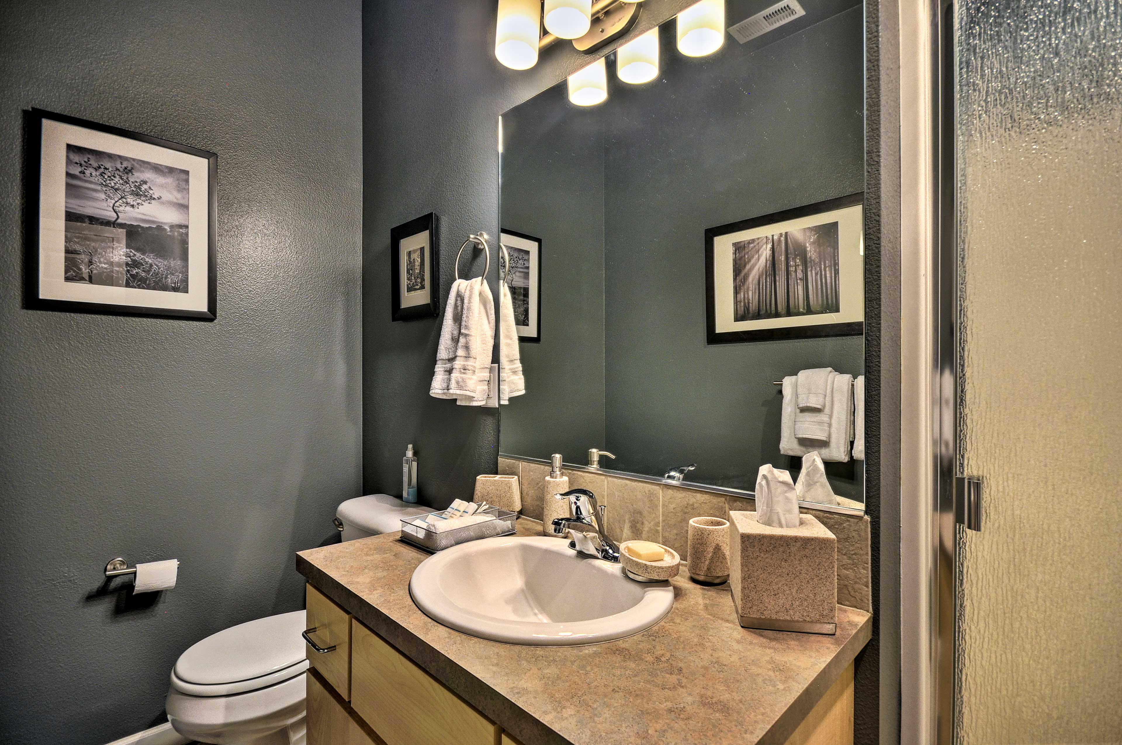 The second bathroom makes freshening up simple.