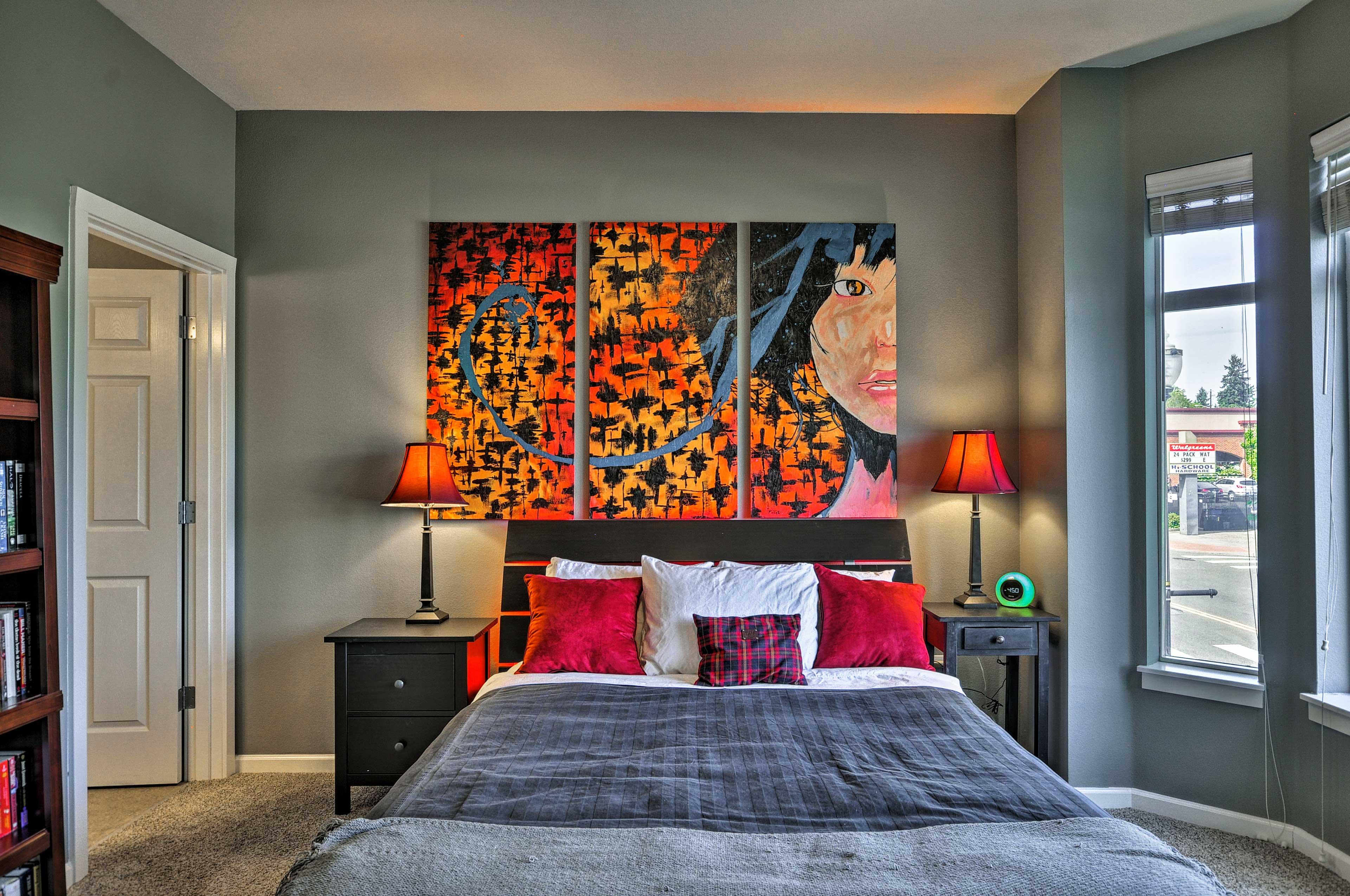 Contemporary art adorns the room.