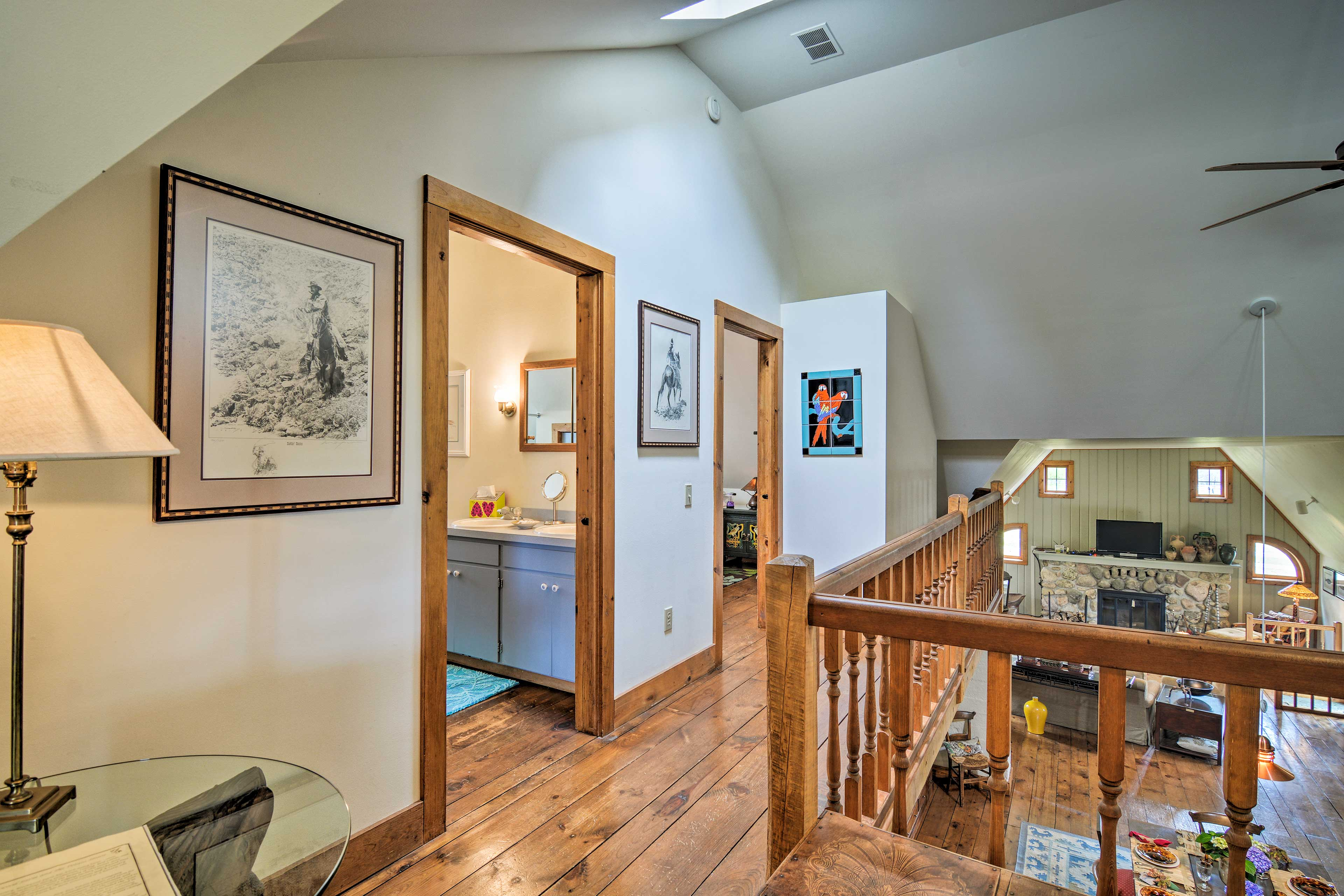 Wood flooring can be found throughout this home.