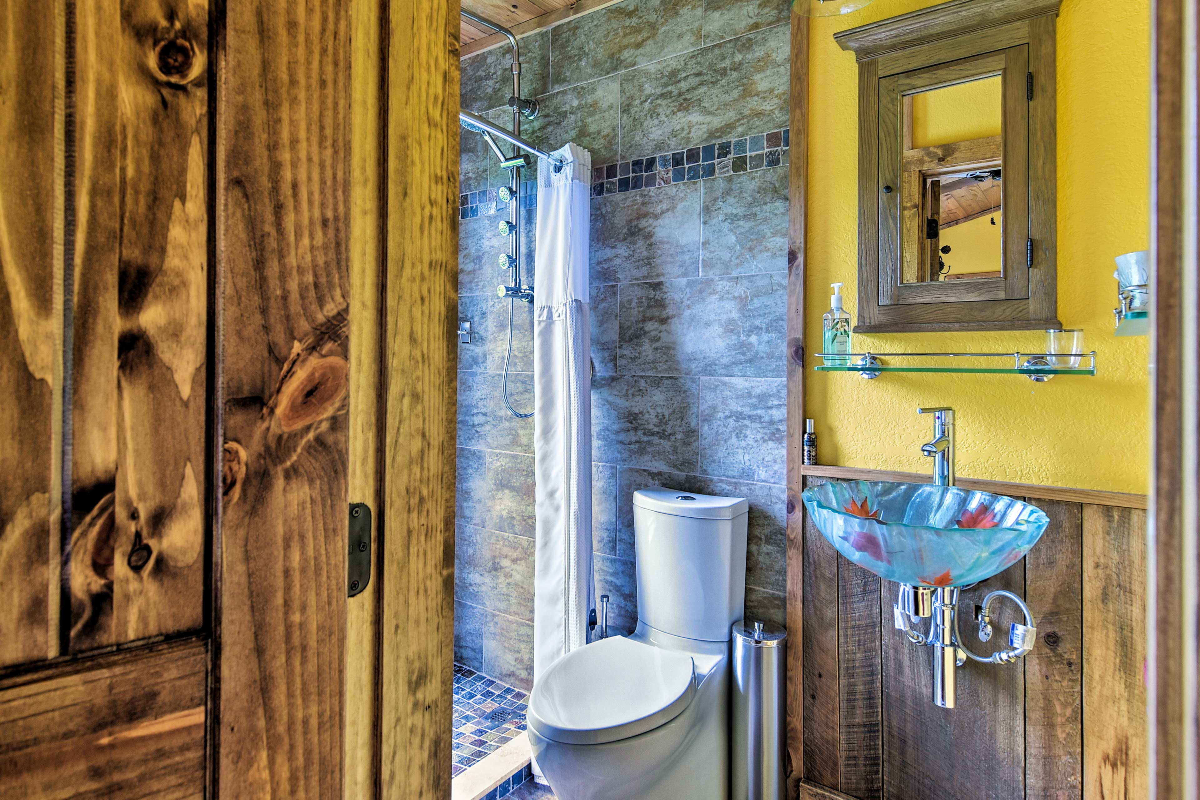 Rinse off in this lavish walk-in shower.