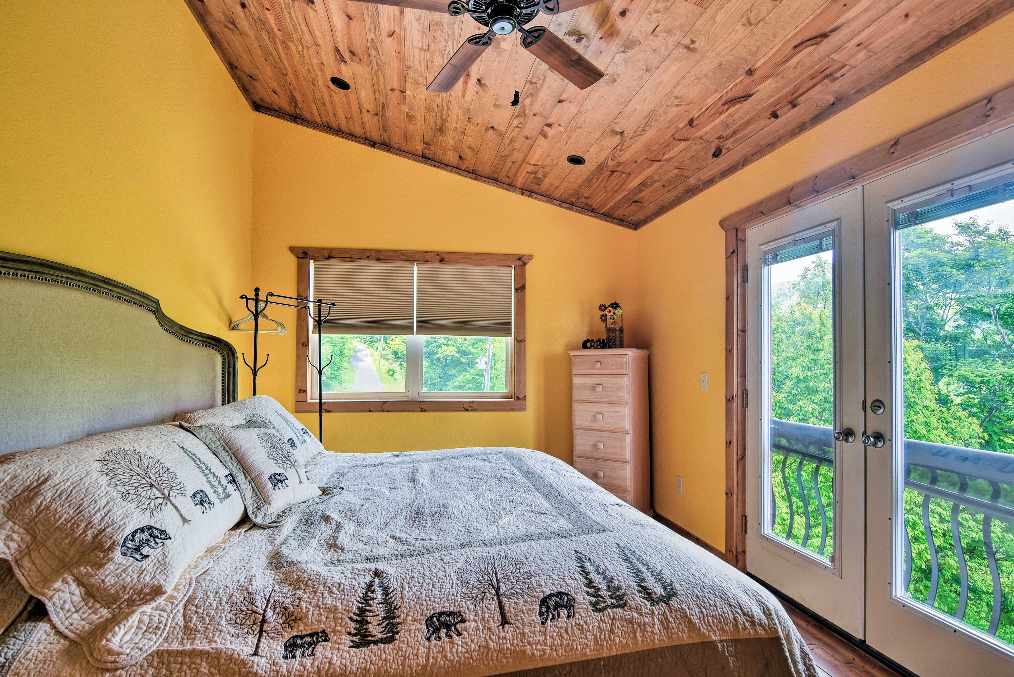 Two travelers can claim the home's master bedroom.