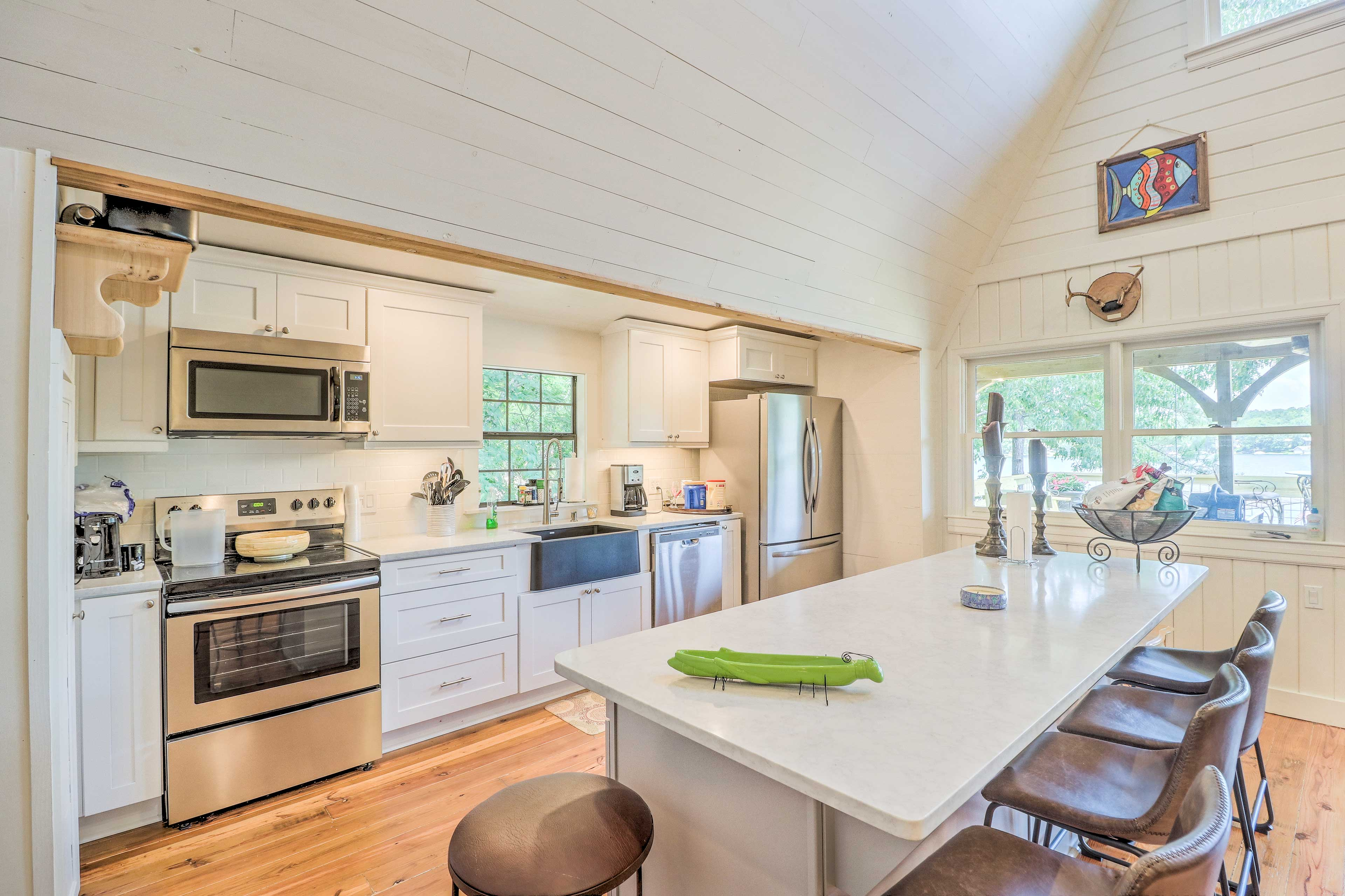 Serve snacks and drinks at the island countertop.