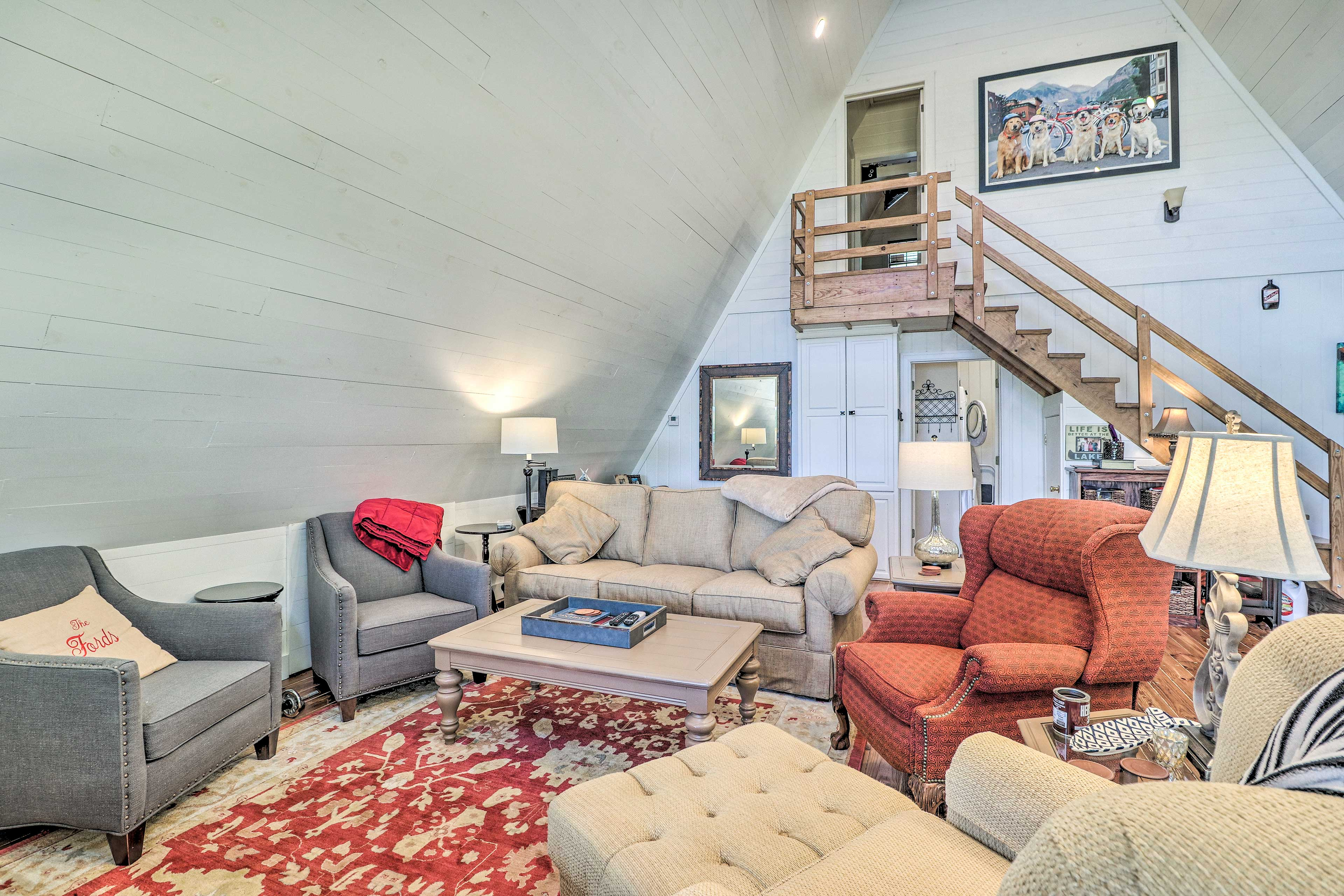 The living space has plenty of room to cozy up with loved ones.
