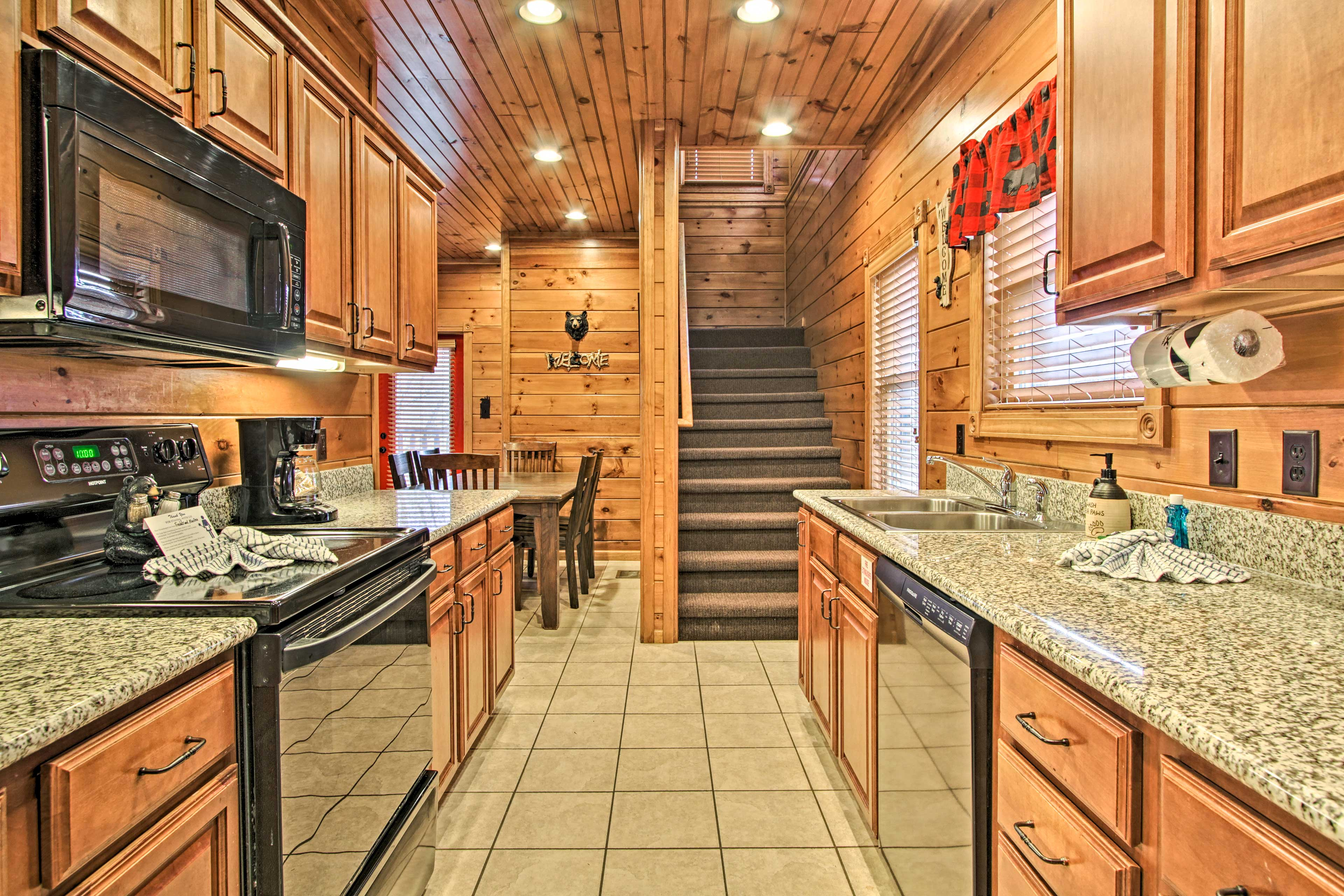 The galley-style kitchen features modern appliances.