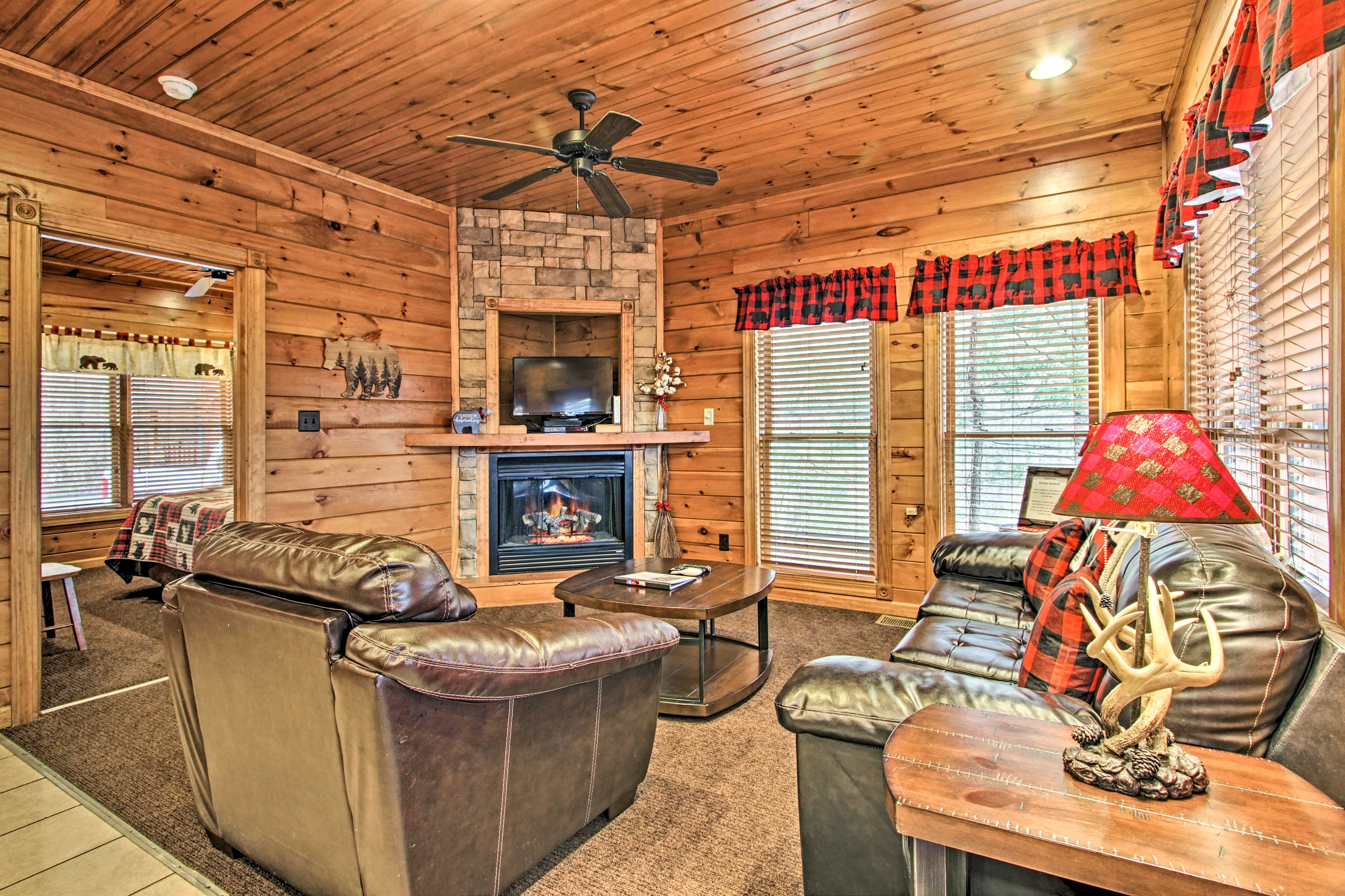 Watch the flat-screen cable TV next to the electric fireplace.