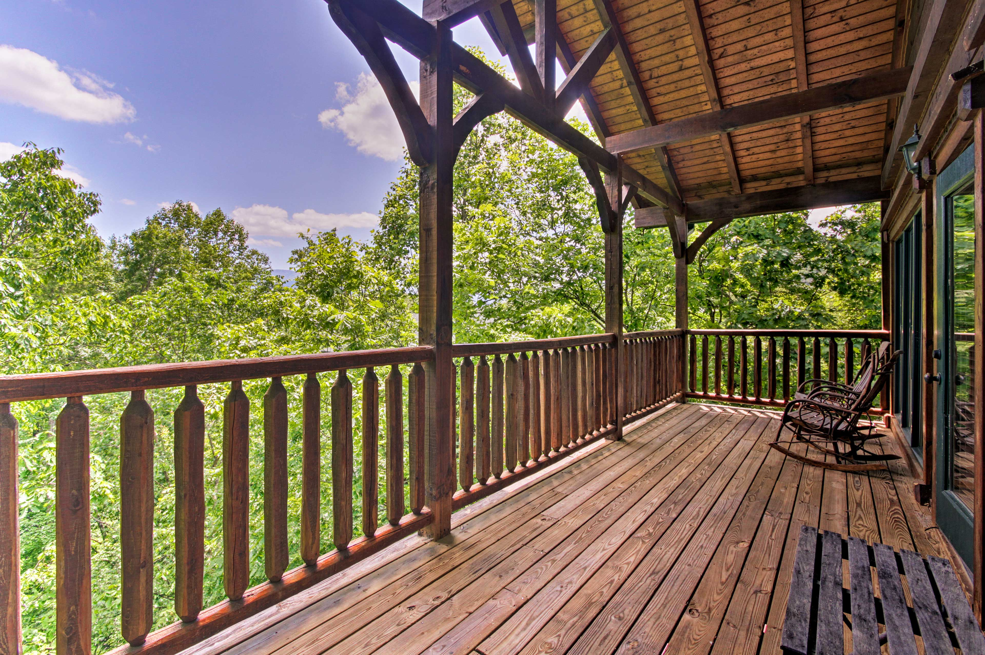 Sip your morning coffee on the upper deck in the rocking chairs.