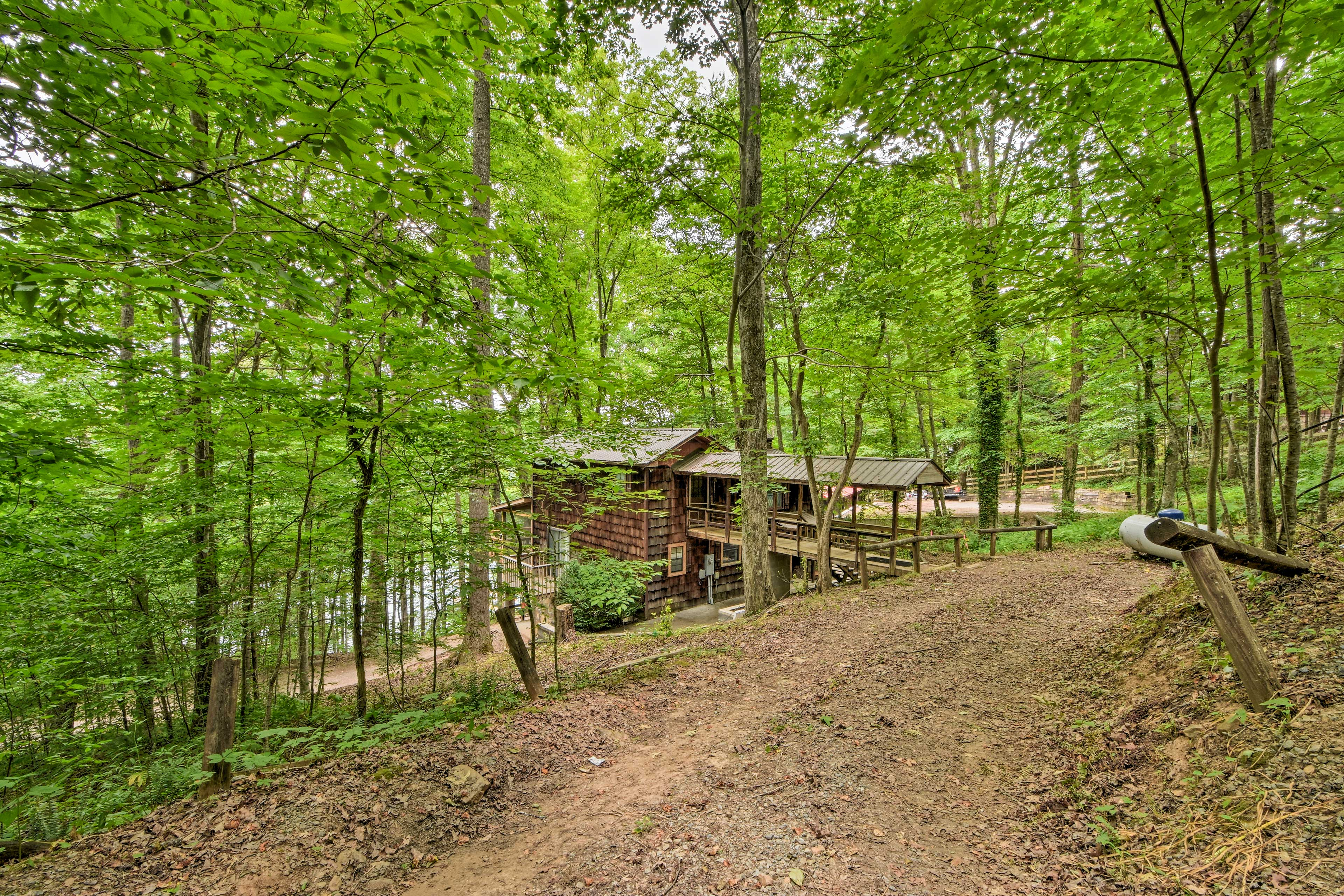 You'll find this slice of paradise nestled in the woods.