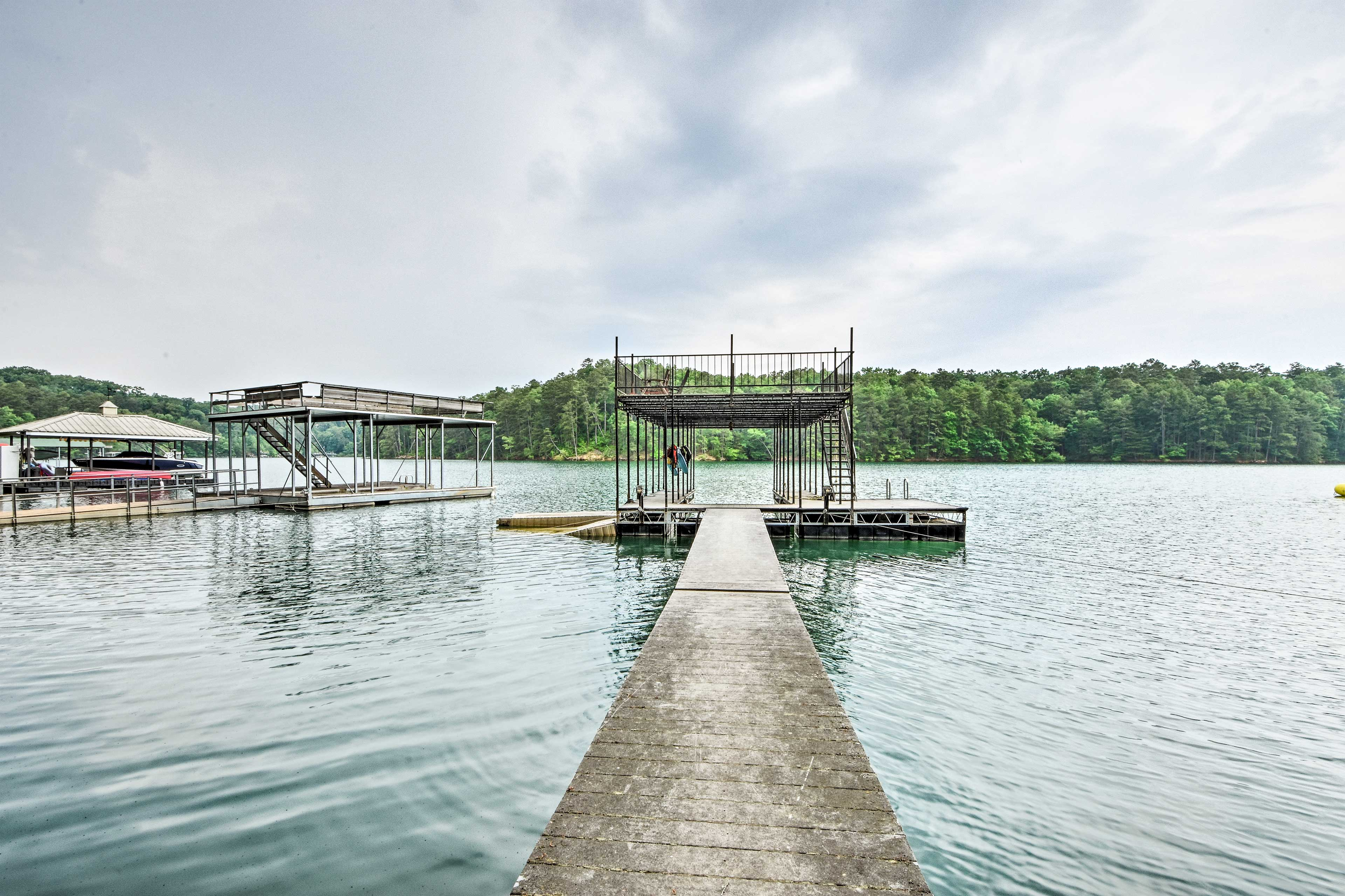 Afternoons await you on this private double-decker boat dock!