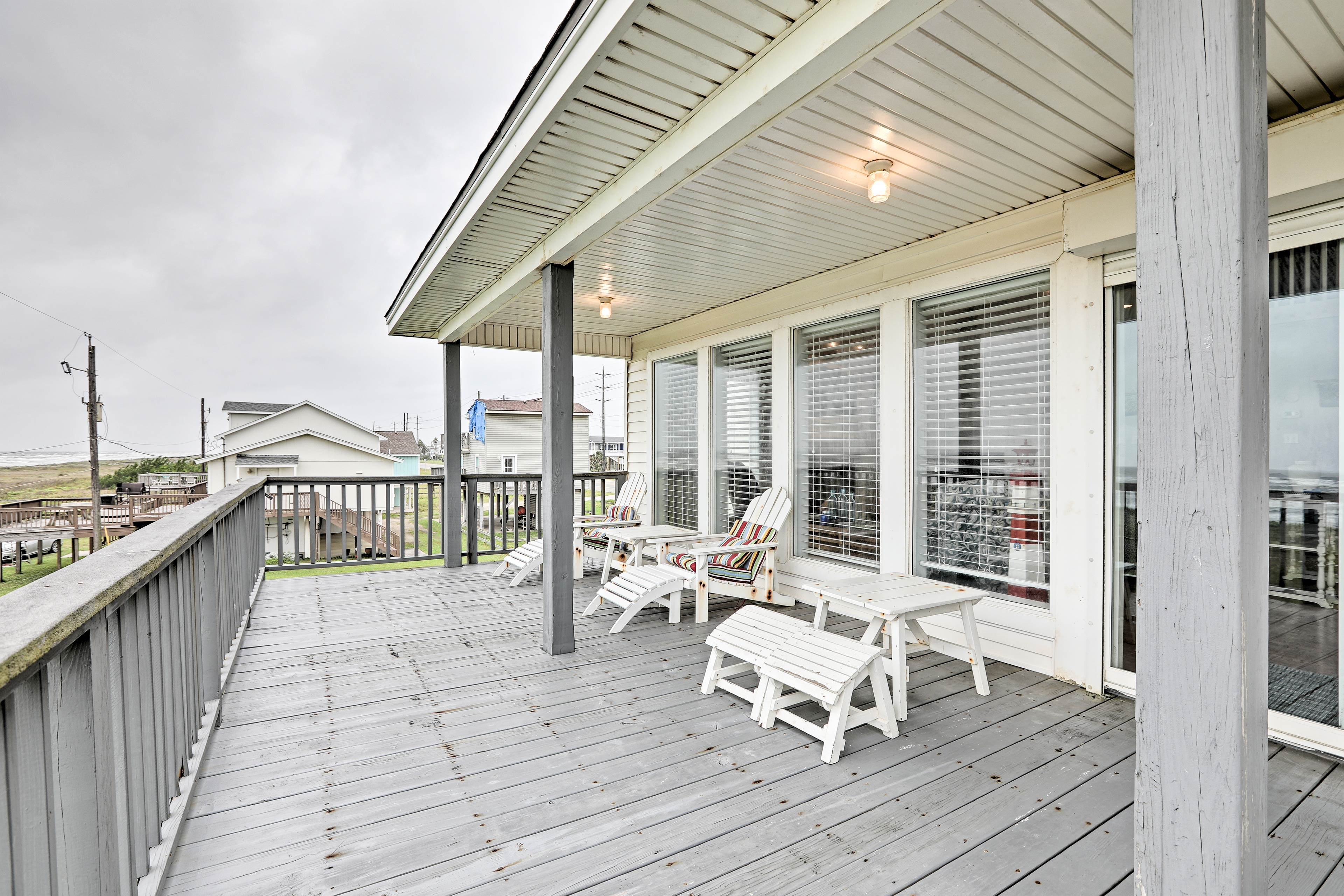 Catch a bit of sun or hide under the covered portion of the deck!