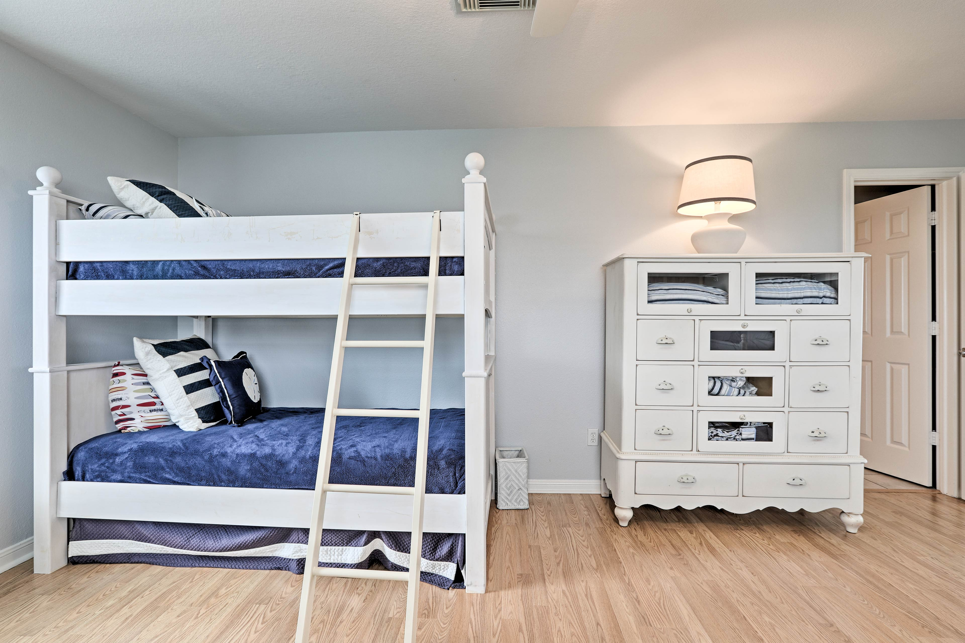Flip a coin to see who gets the top bunk!