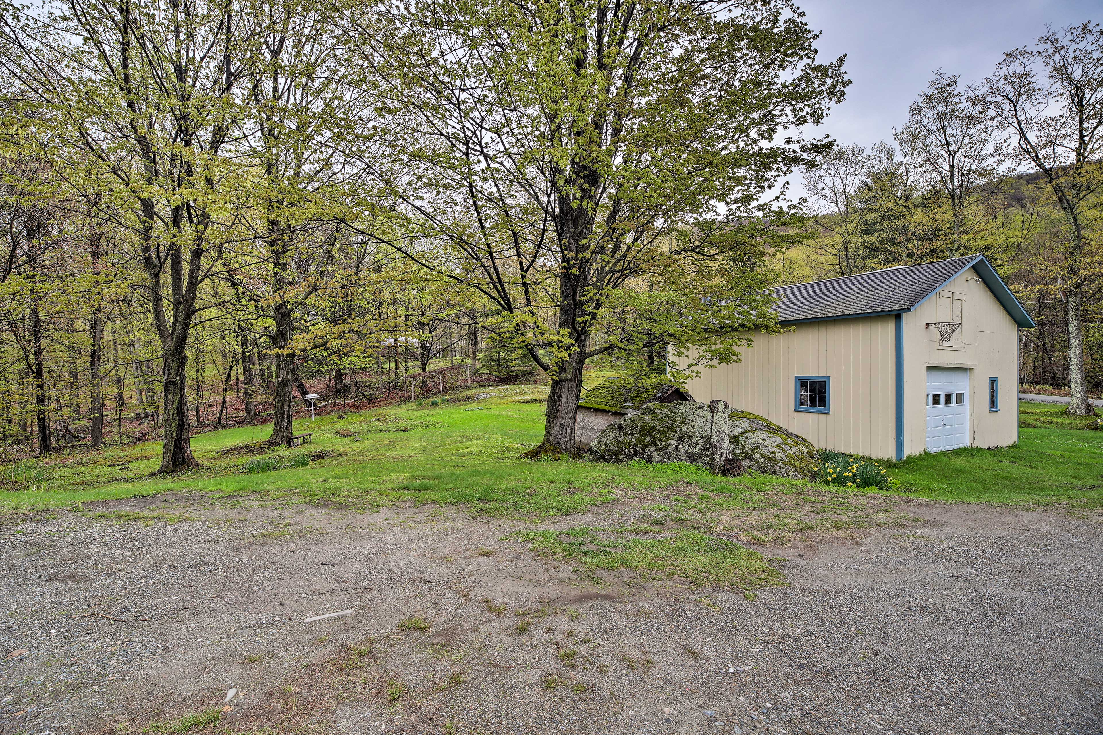 You'll be on a semi-secluded lot surrounded by trees.