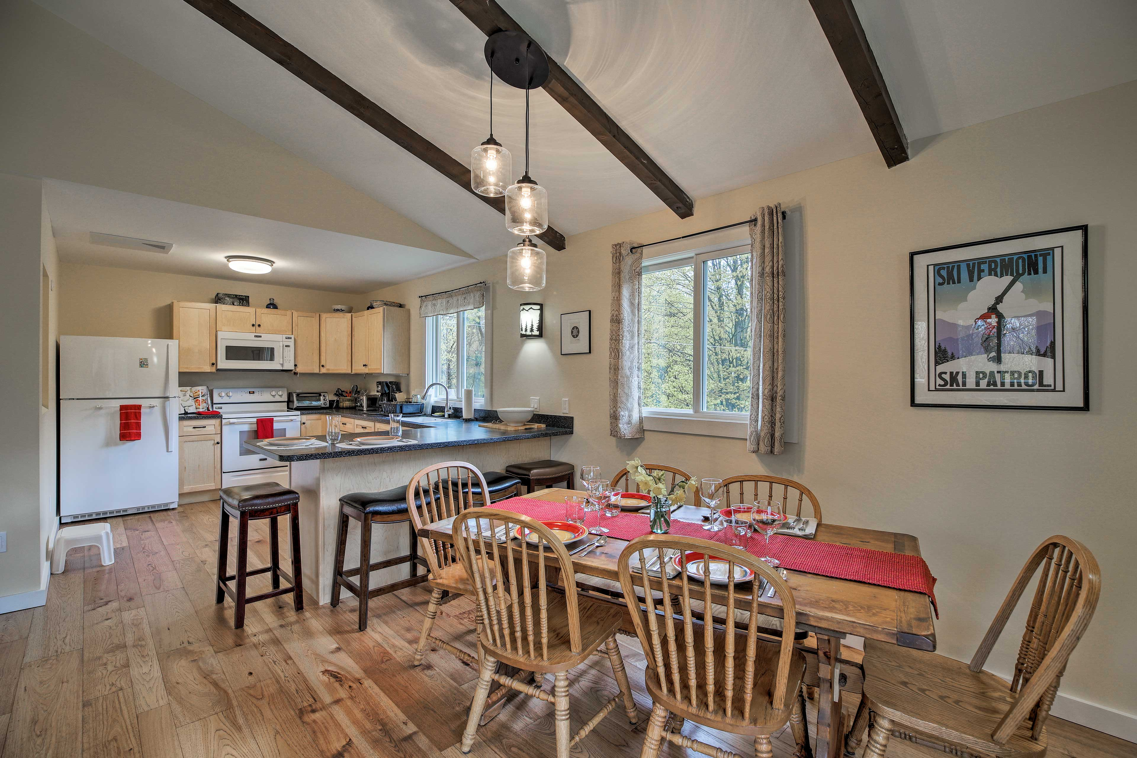 Set the dining table for 6 or grab a seat at the breakfast bar.