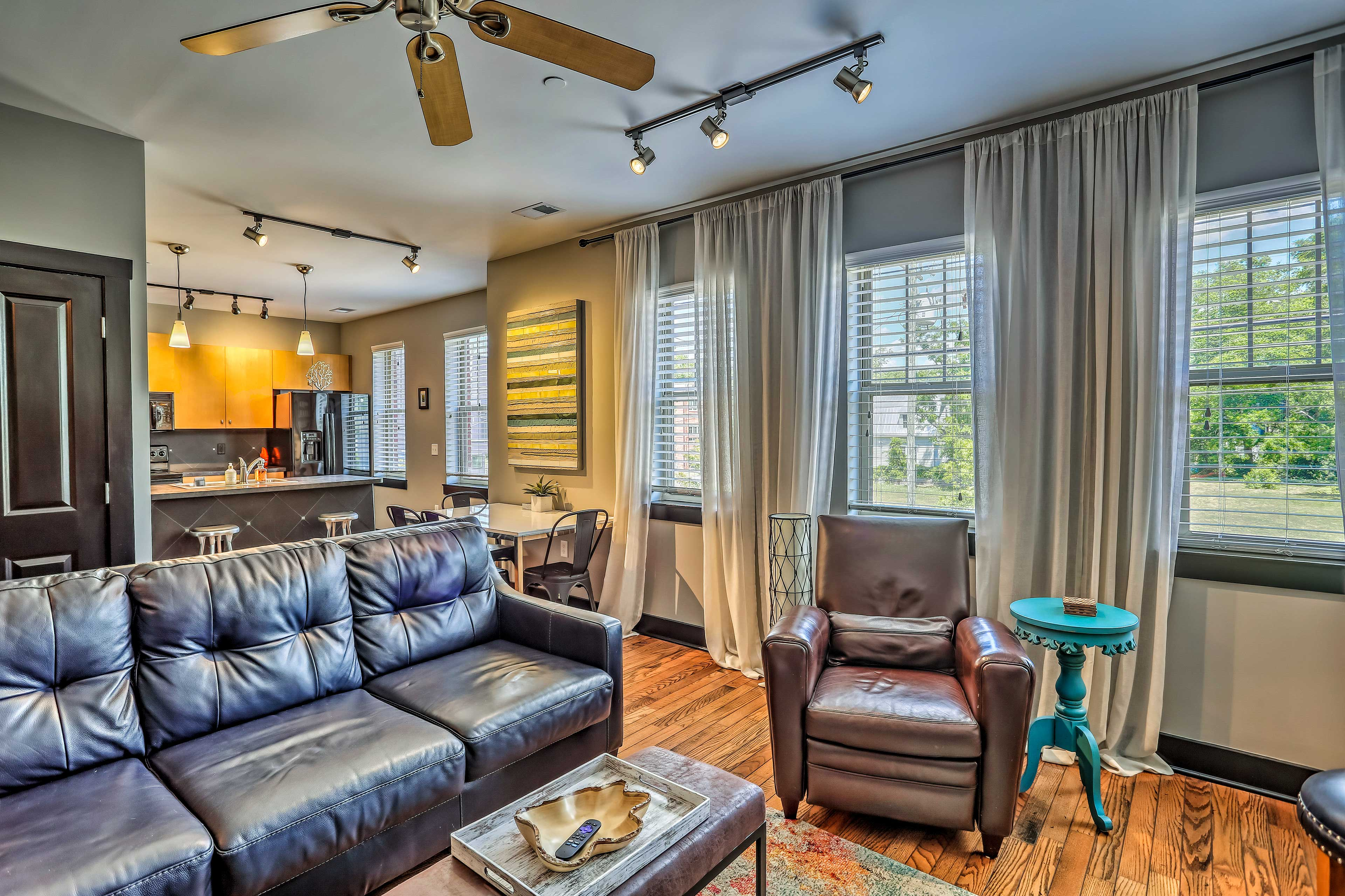 The living room and kitchen flow together seamlessly!