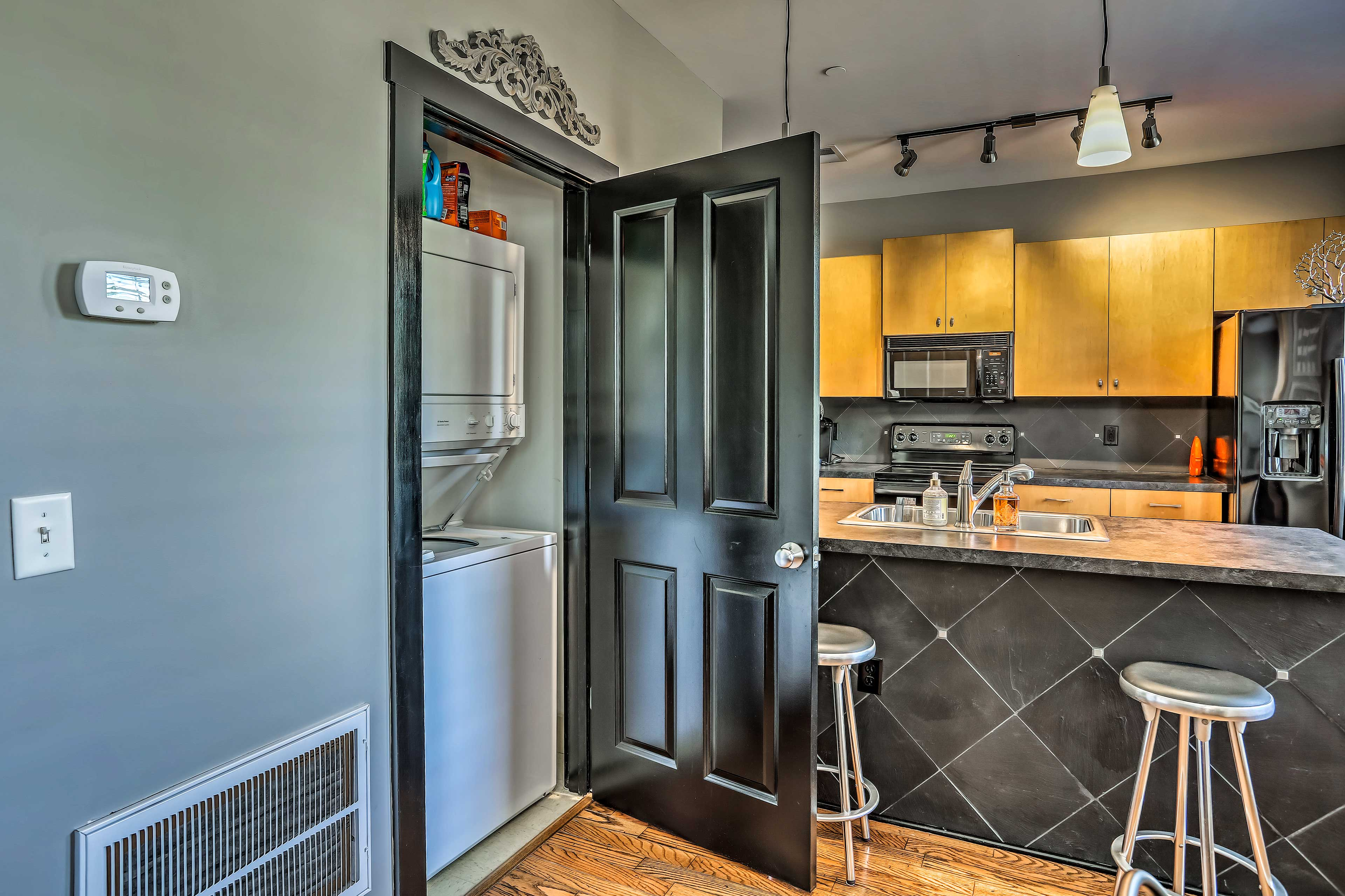 The condo also features convenient in-unit laundry machines!