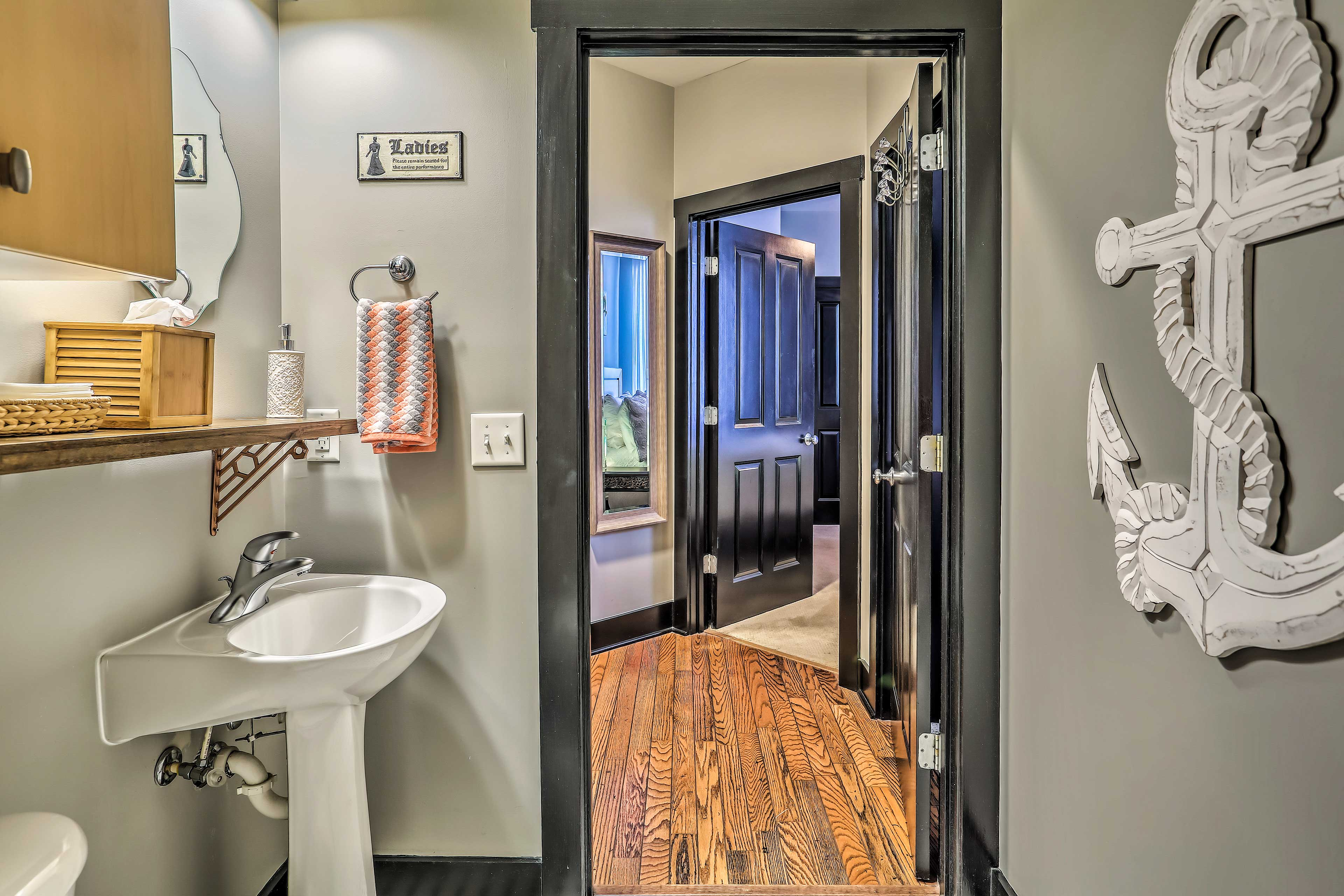 The second full bathroom is accessible from every room.