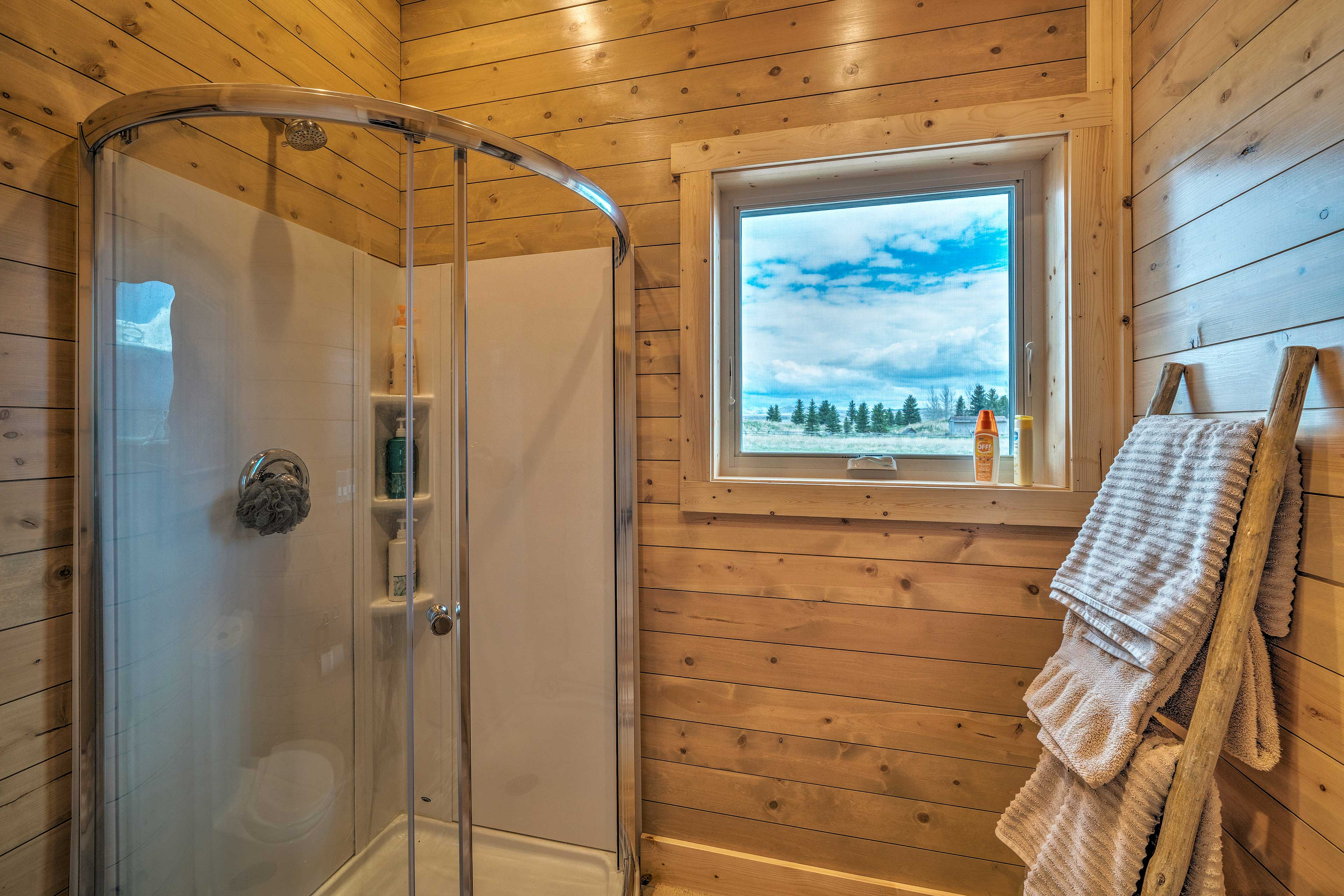 Rinse the day away in this walk-in shower.
