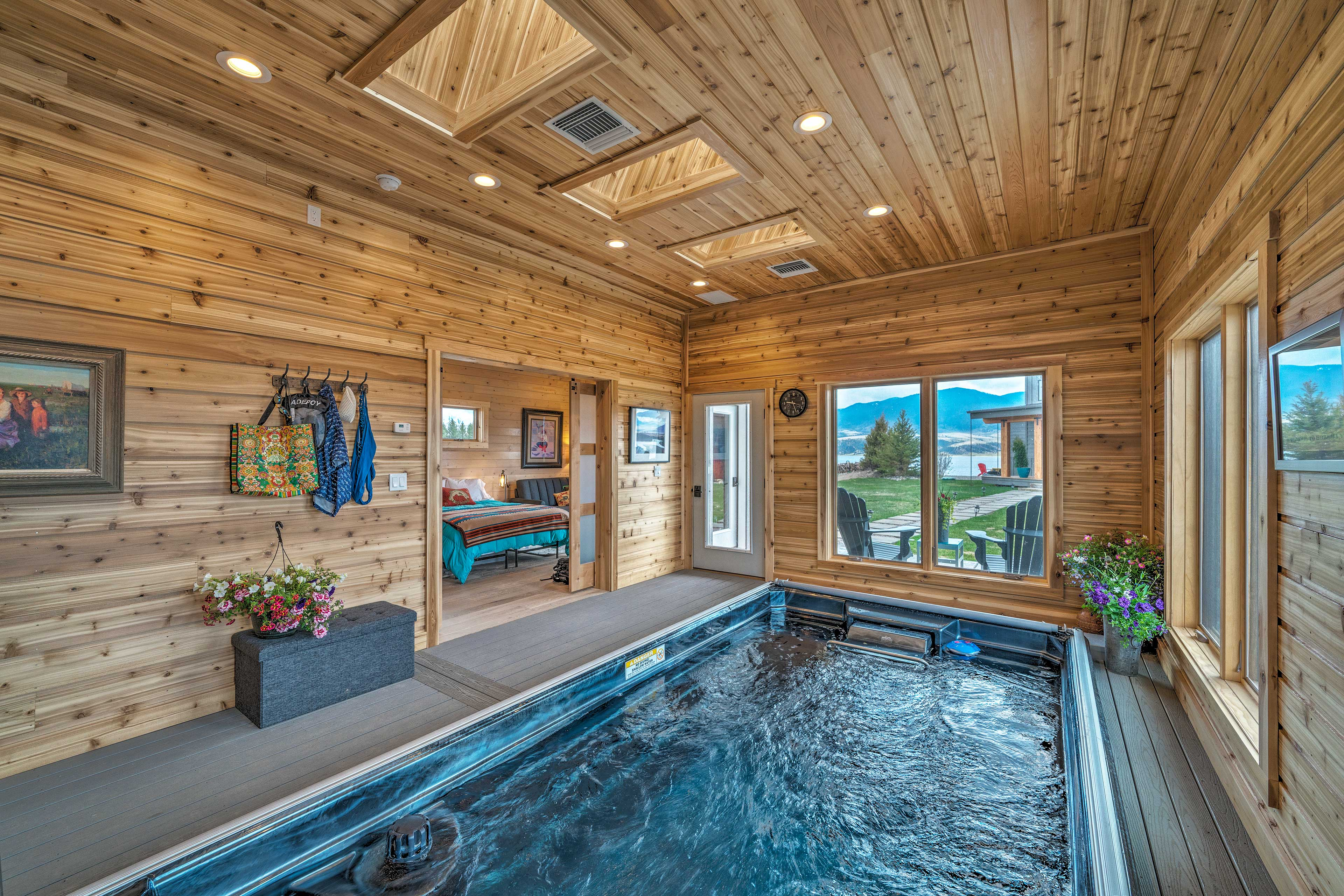 Inside, an indoor pool with mountain views awaits!