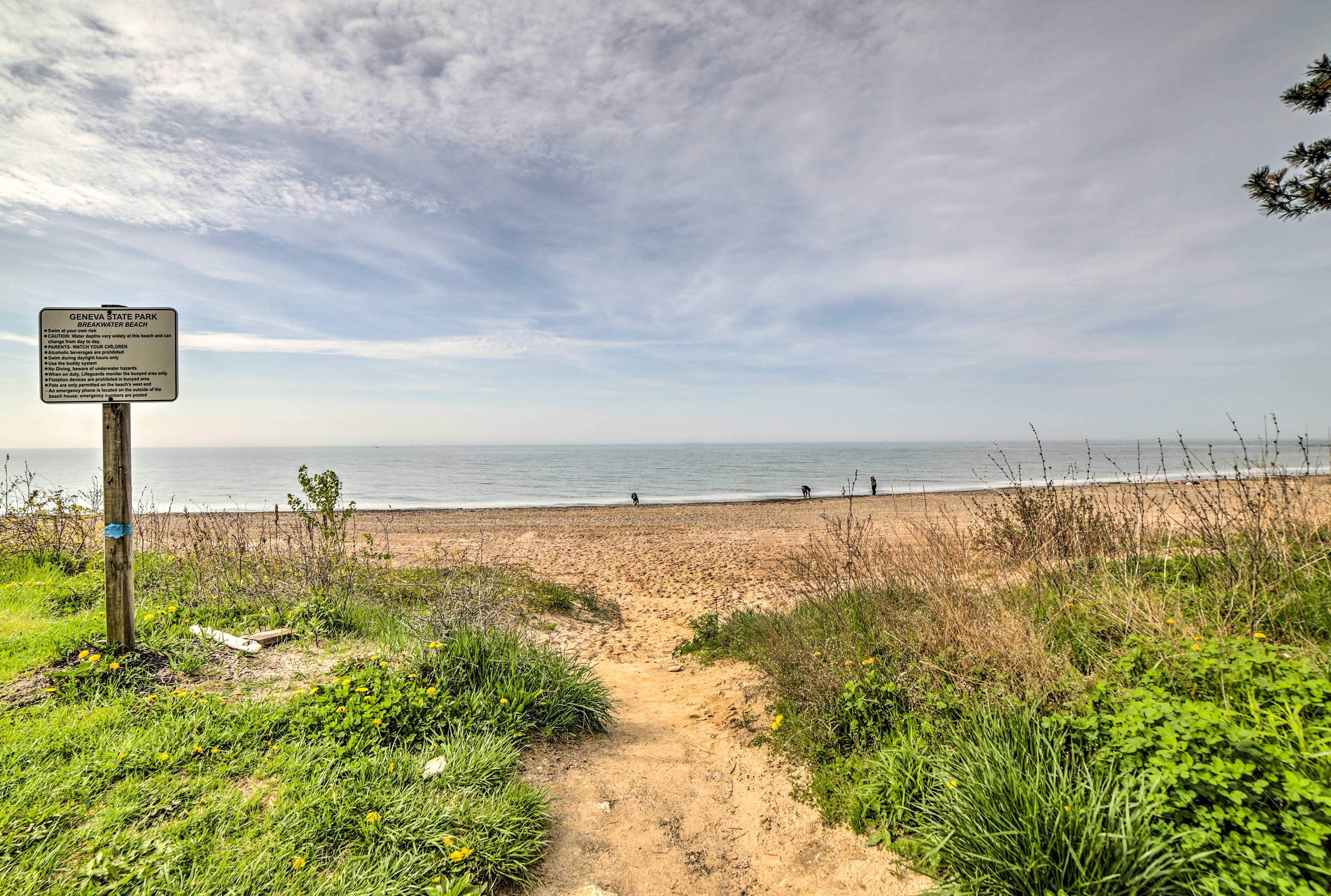 The beach lies just a few miles away.