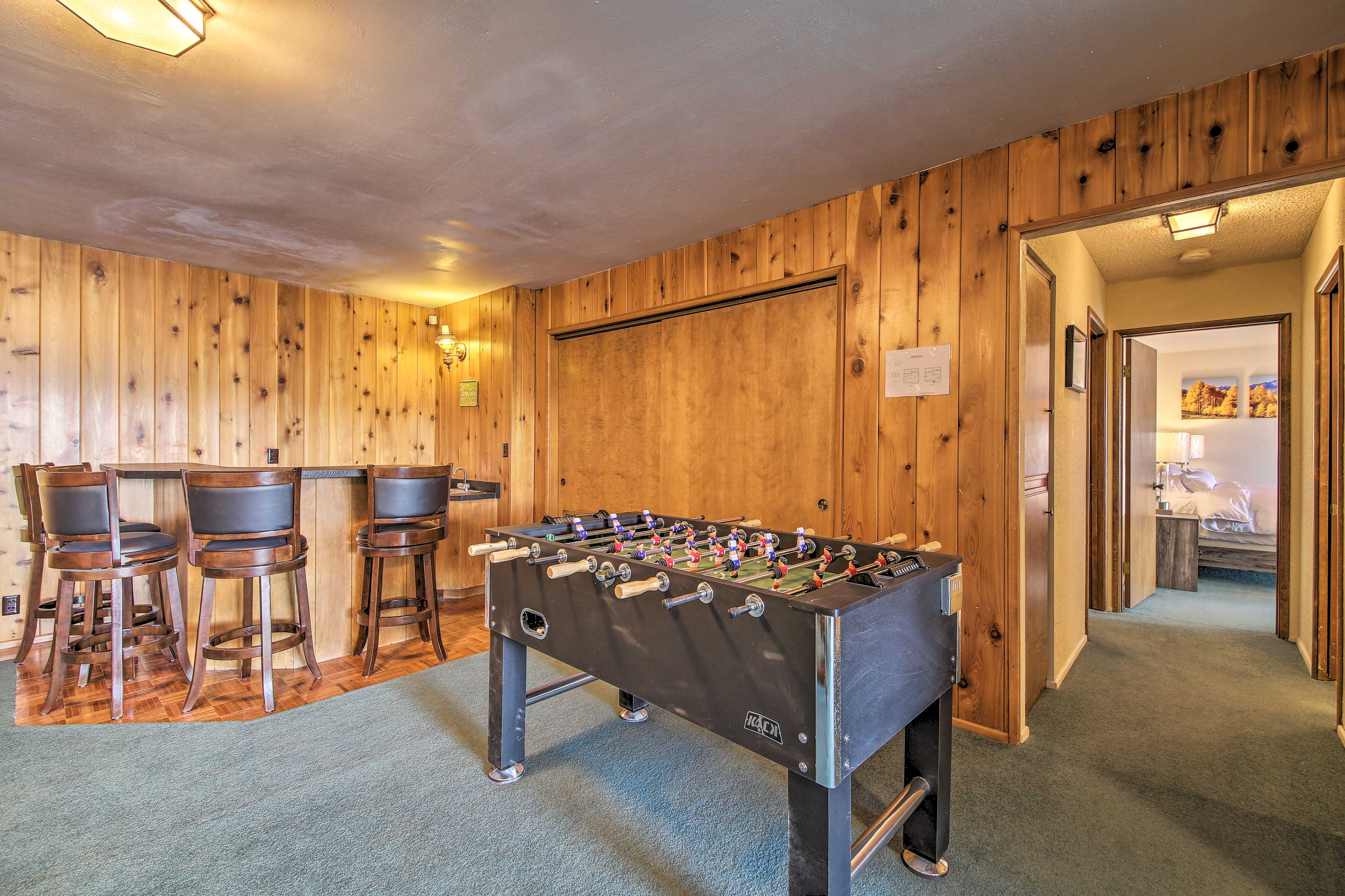 Play a game of Foosball with the kids.