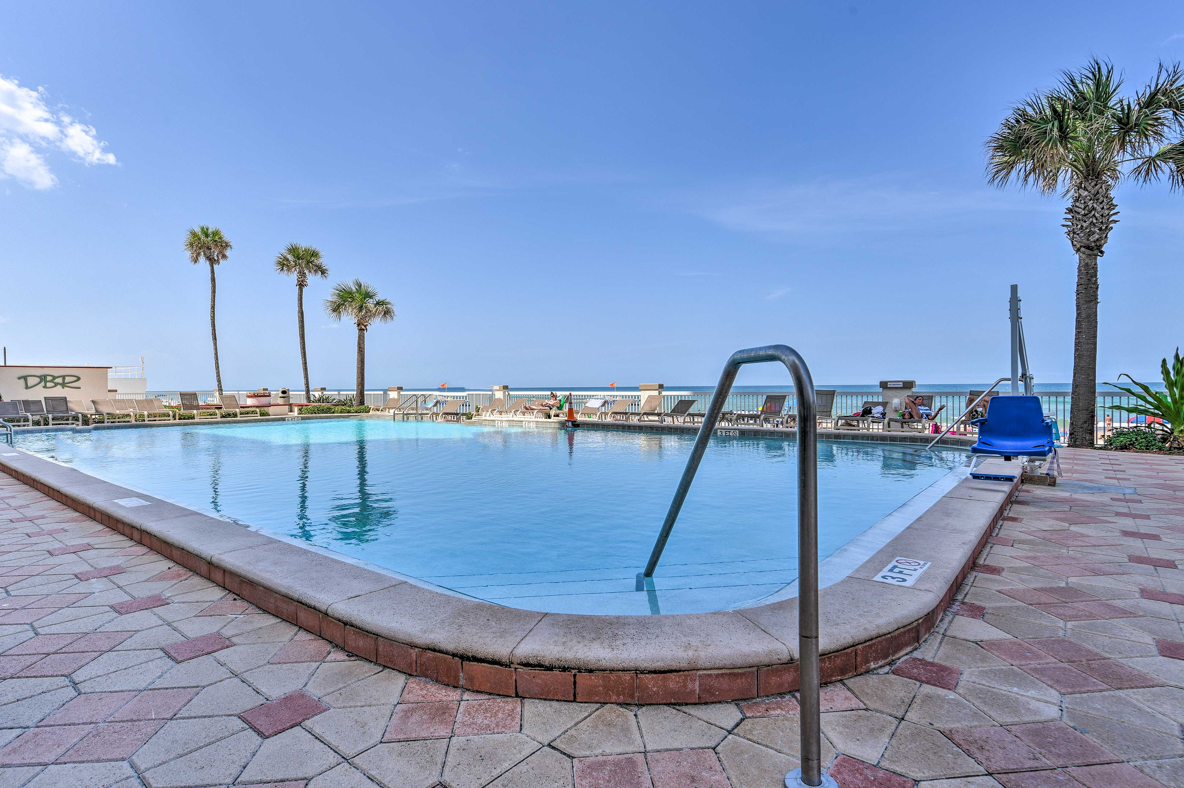 Go for a refreshing dip in the oceanfront pool.