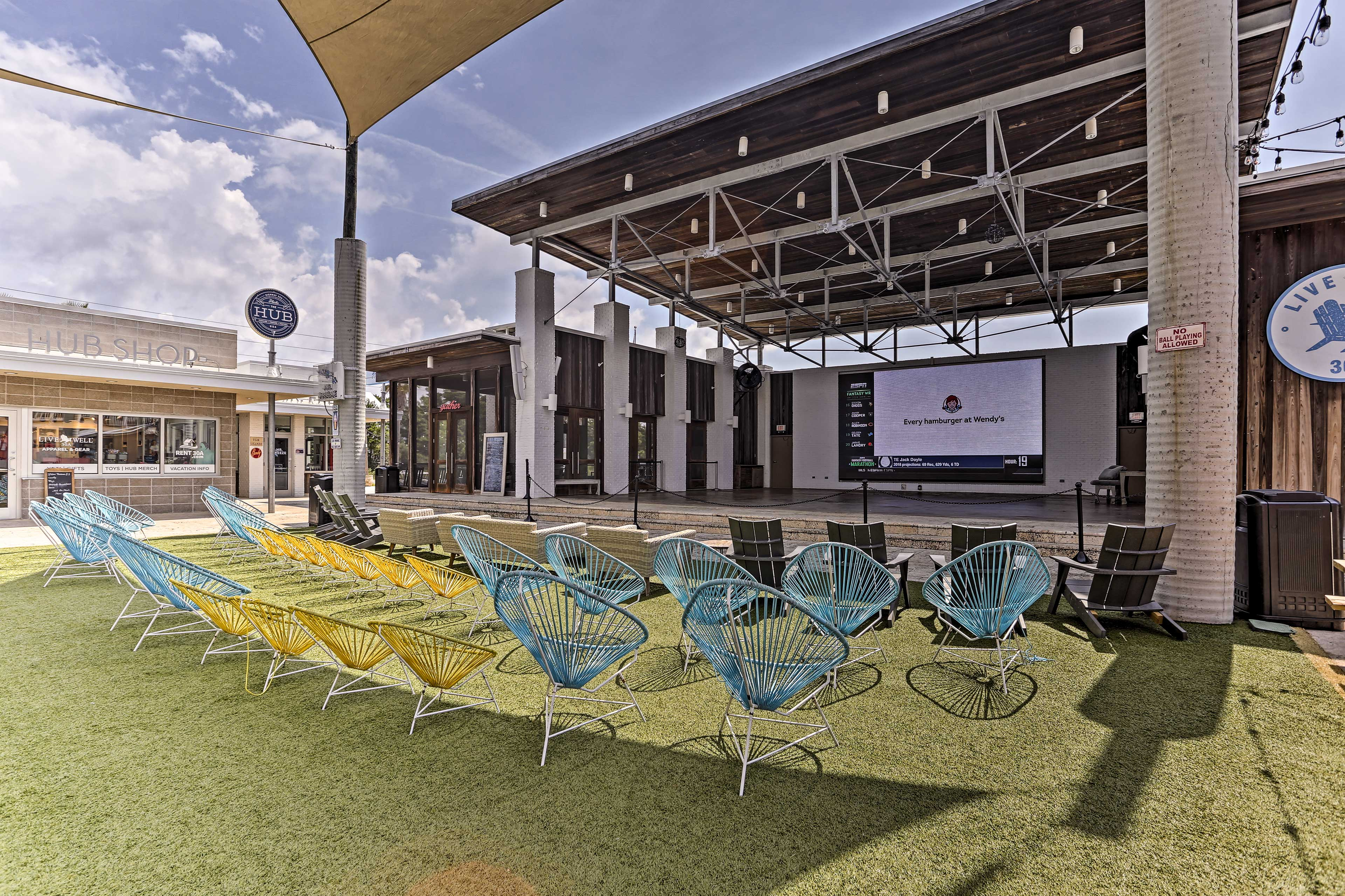 The pavilion hosts numerous events including concerts and movie nights.