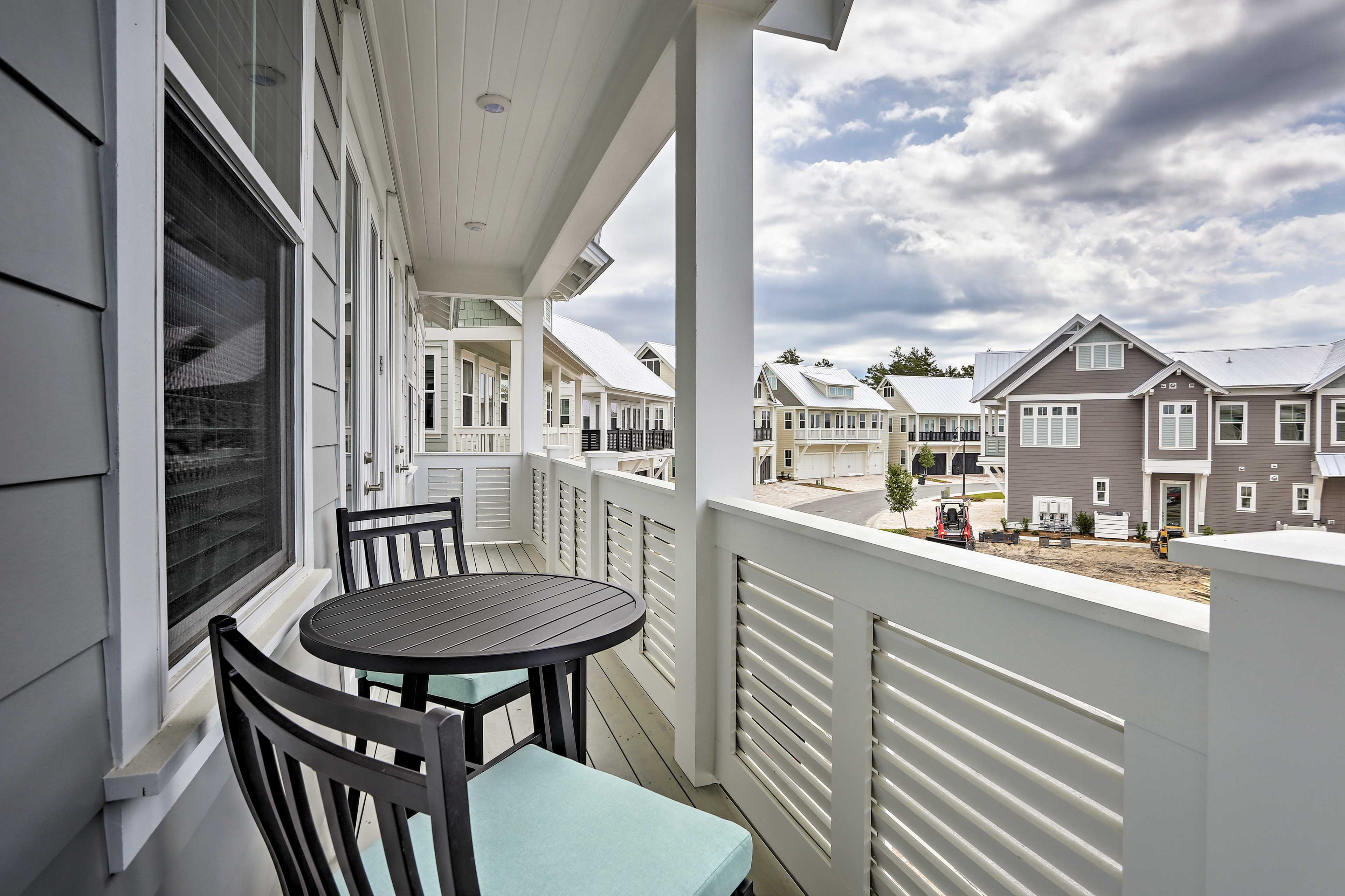 Step out to the balcony to sip your morning coffee.
