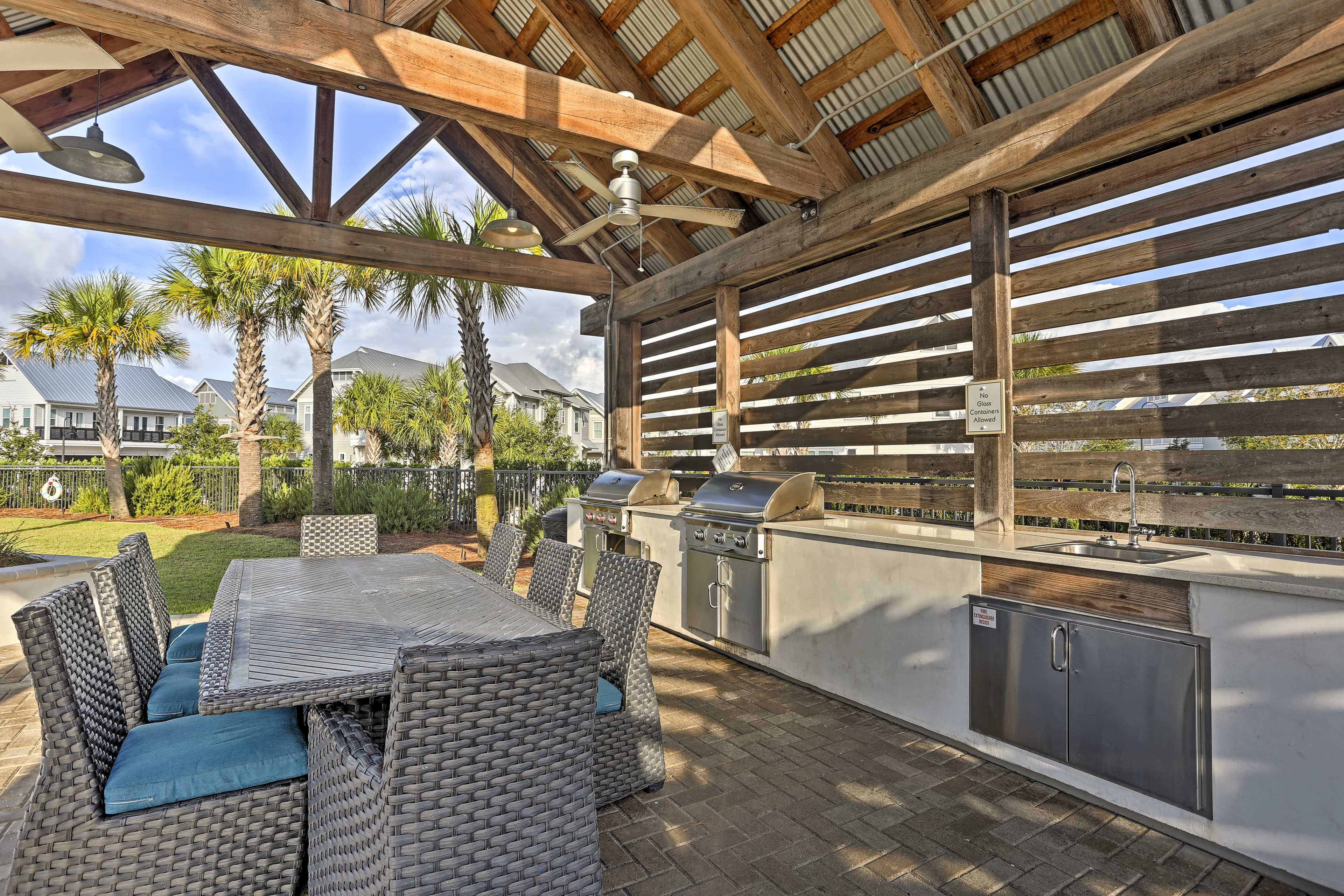 Host a cookout at the picnic area with gas grills and outdoor tables.