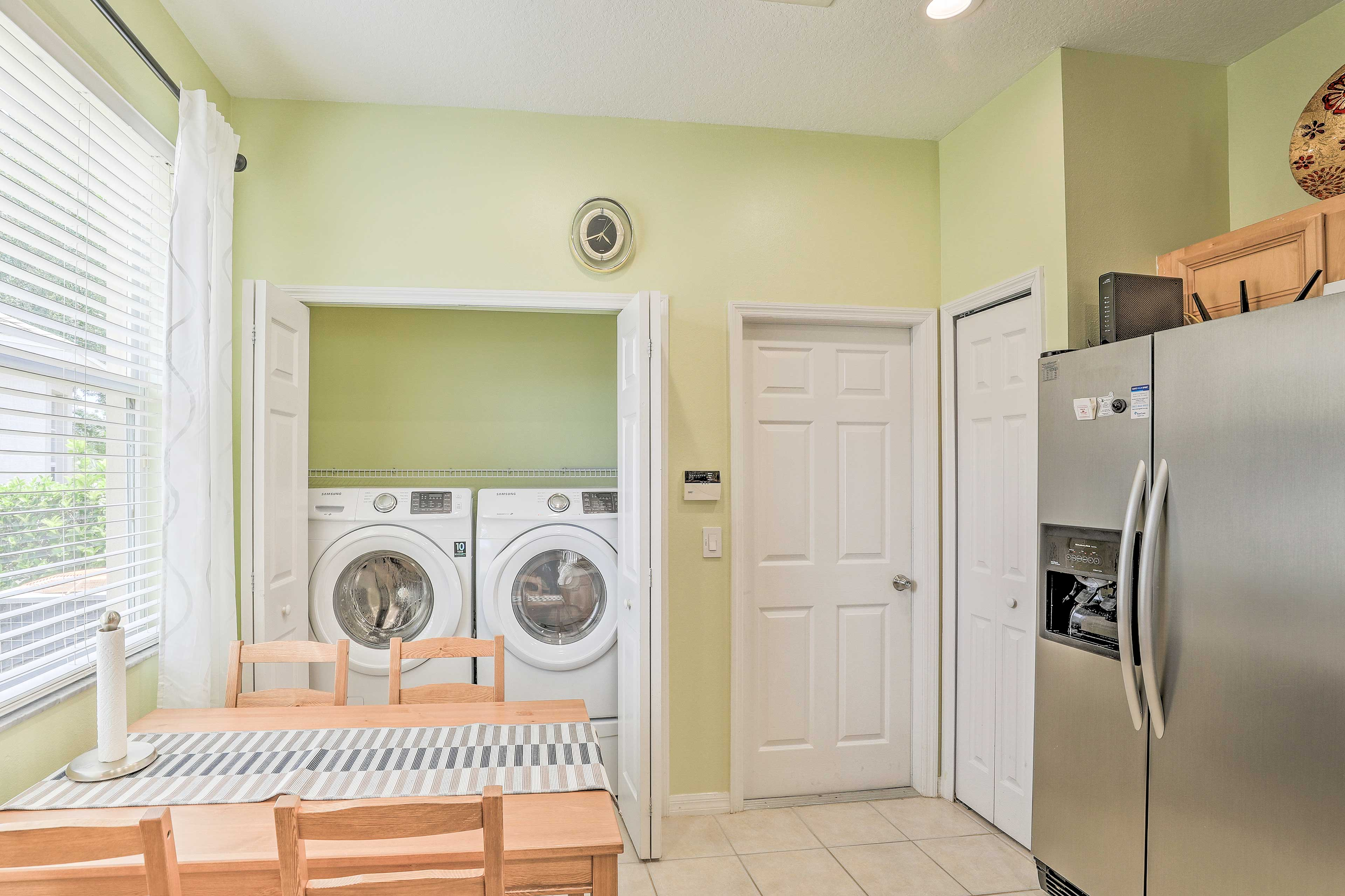 Keep your swimsuits clean with the in-unit laundry machines.