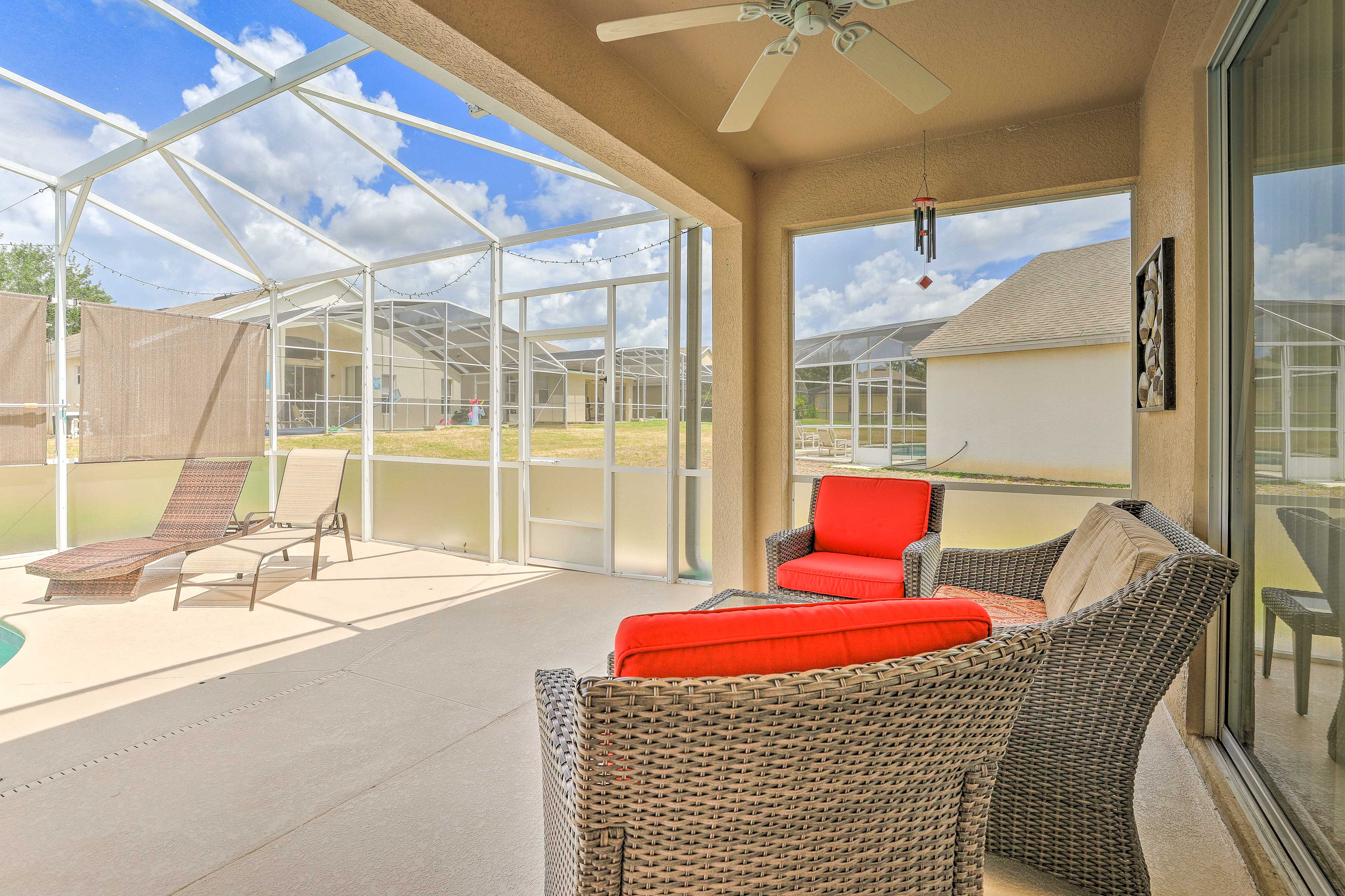 Relax on the covered patio.