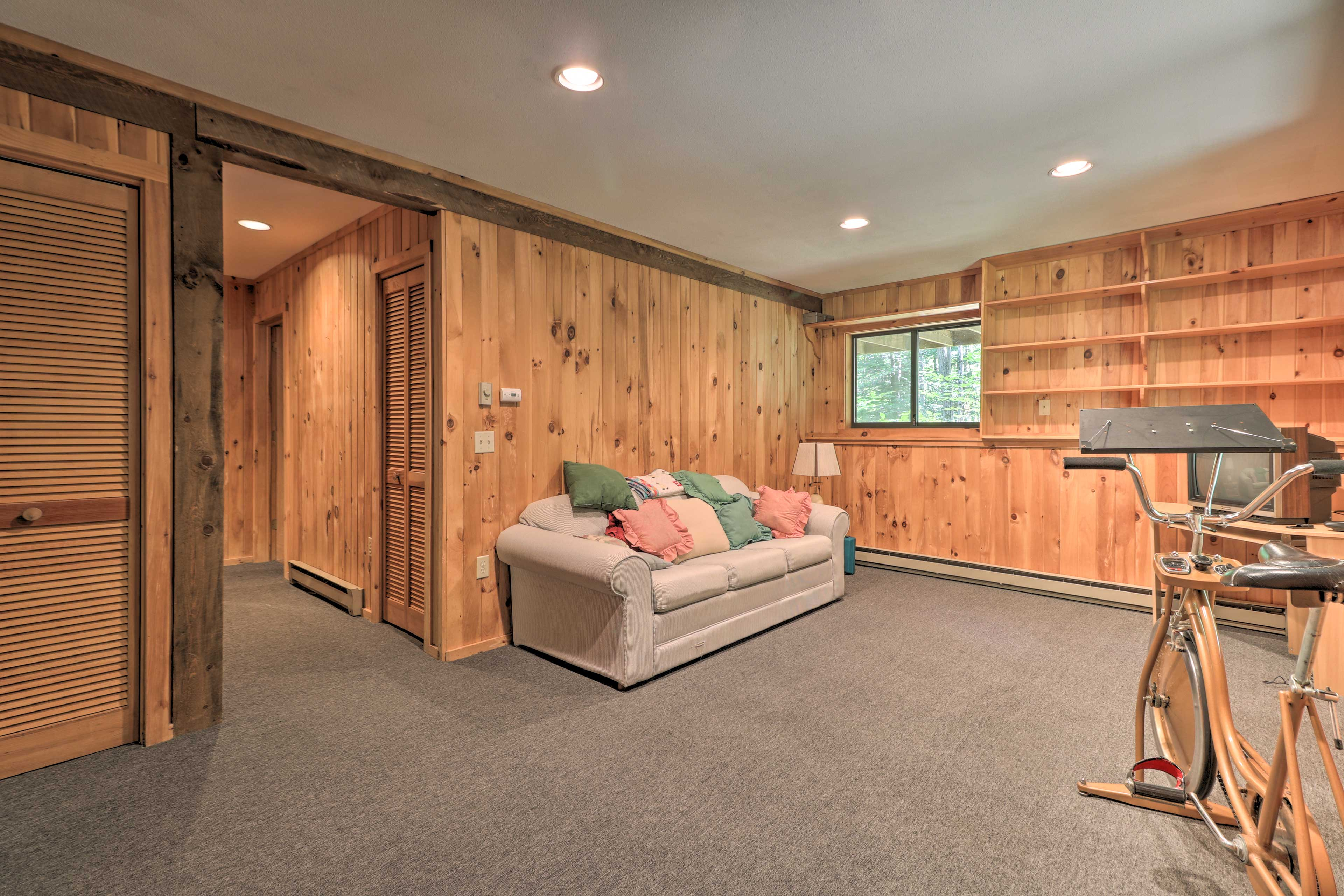 Head downstairs to find the additional living space.