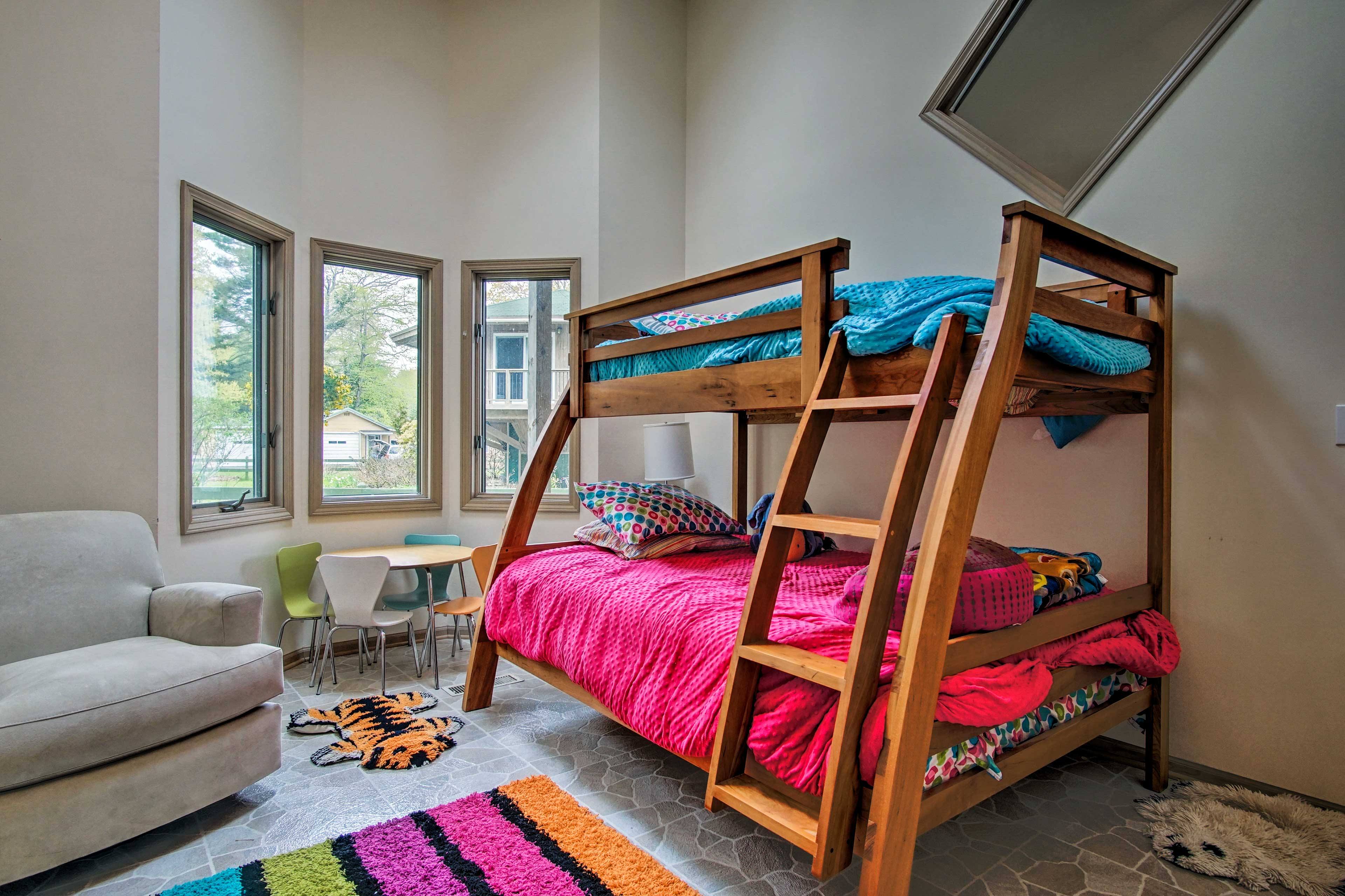 Kiddos will love sharing this twin-over-full bunk bed!
